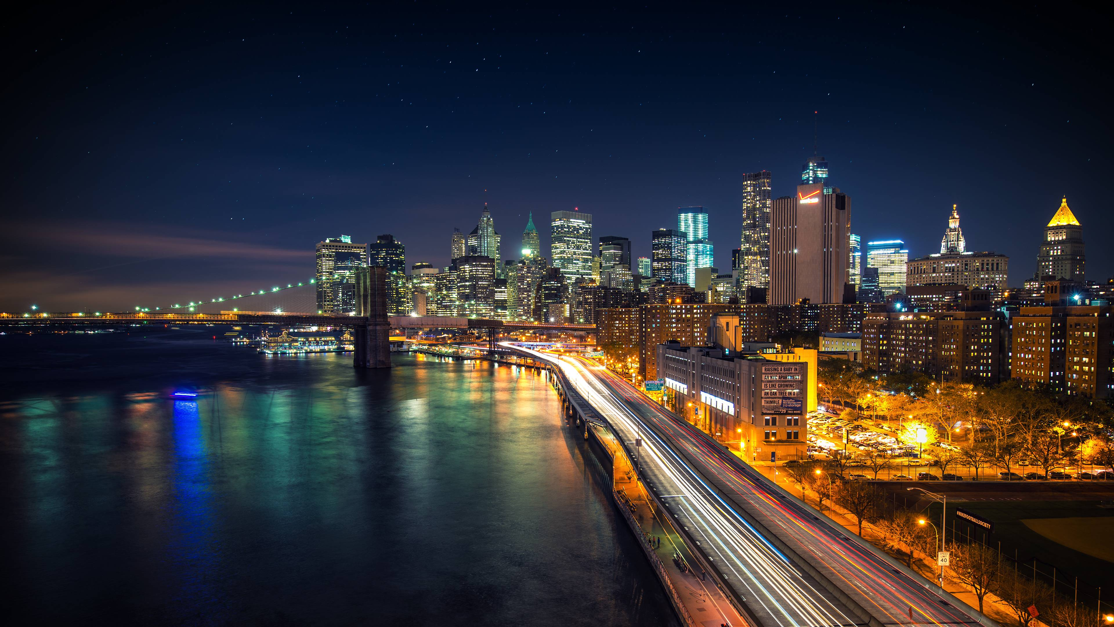 4K Wallpaper City Nighty City Lights