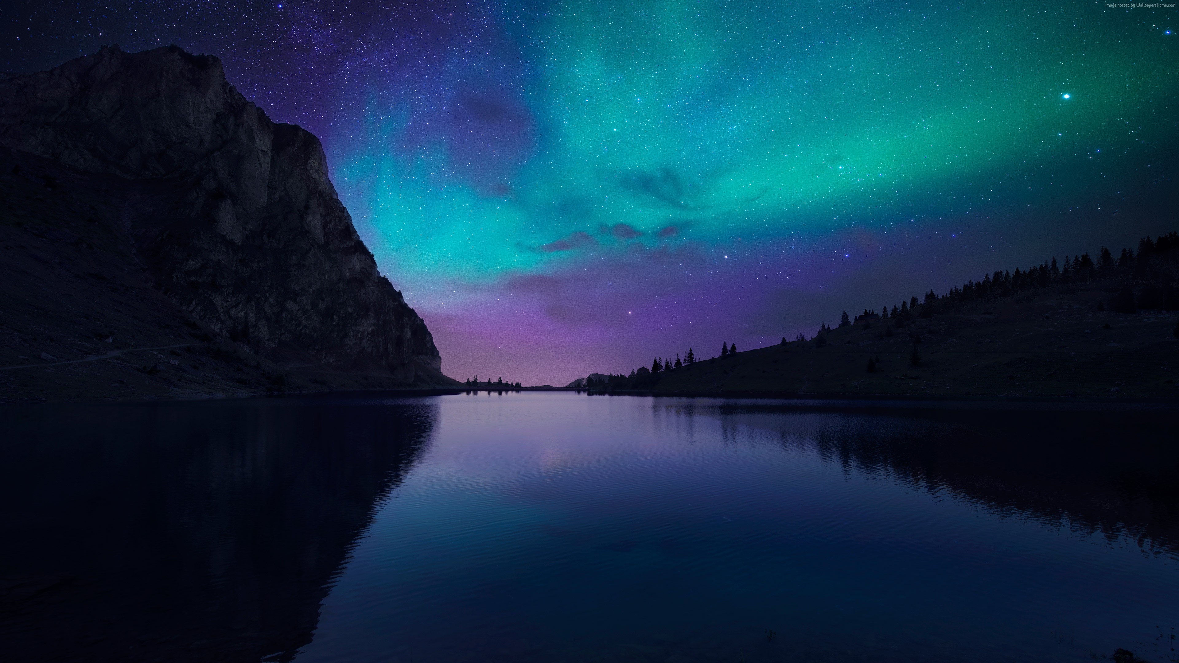 Lake Aurora 4K Wallpaper and Desktop Images