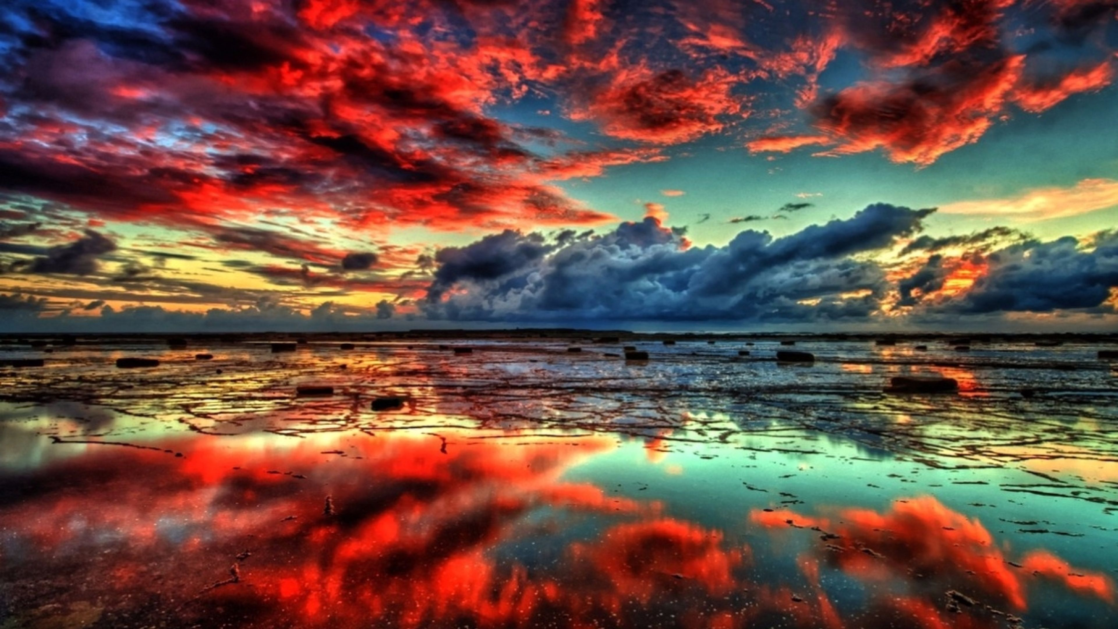 Red Clouds Nature 4K Wallpapers UHD