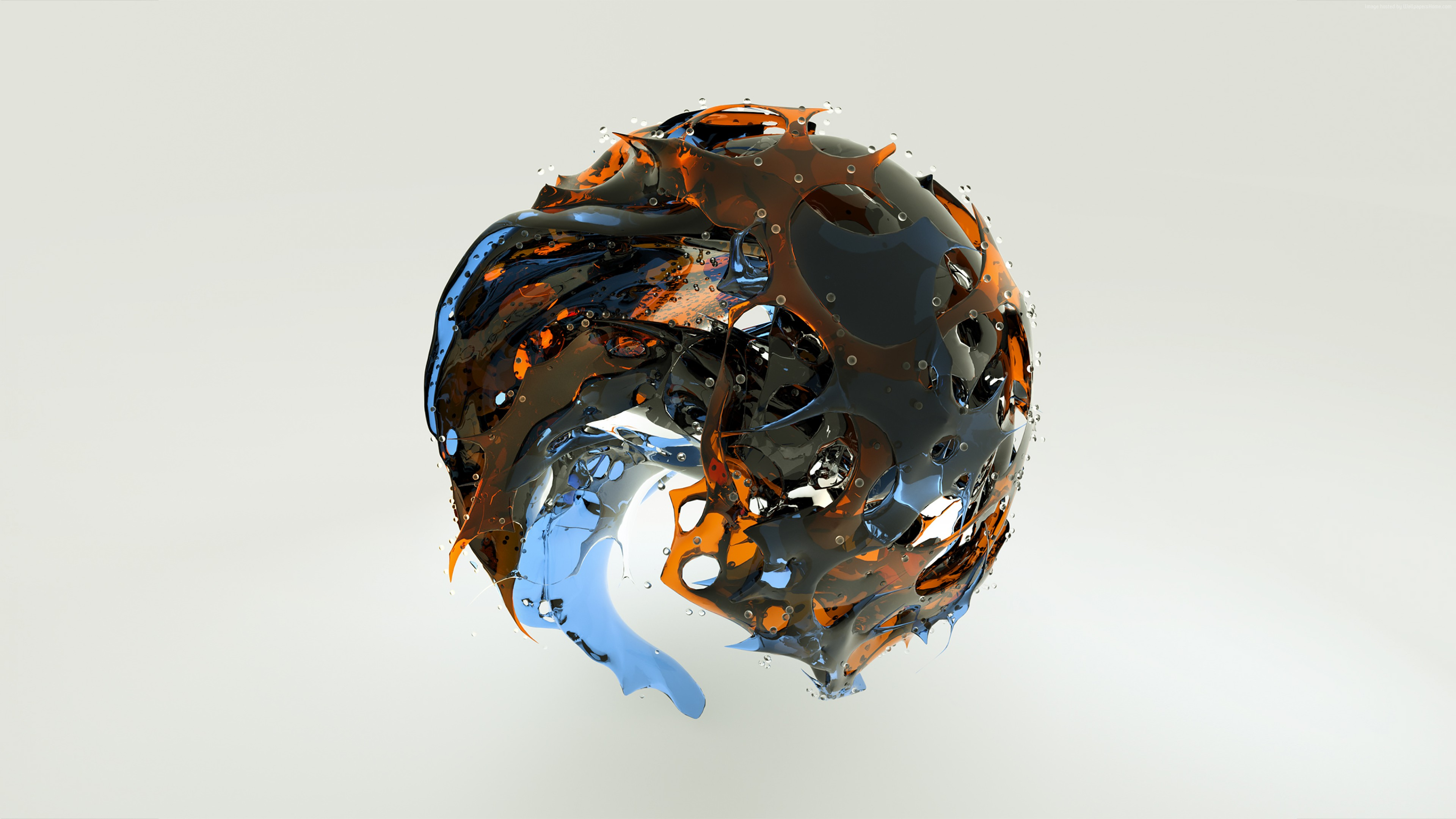 Wallpaper sphere, 3D, glass, HD, Abstract