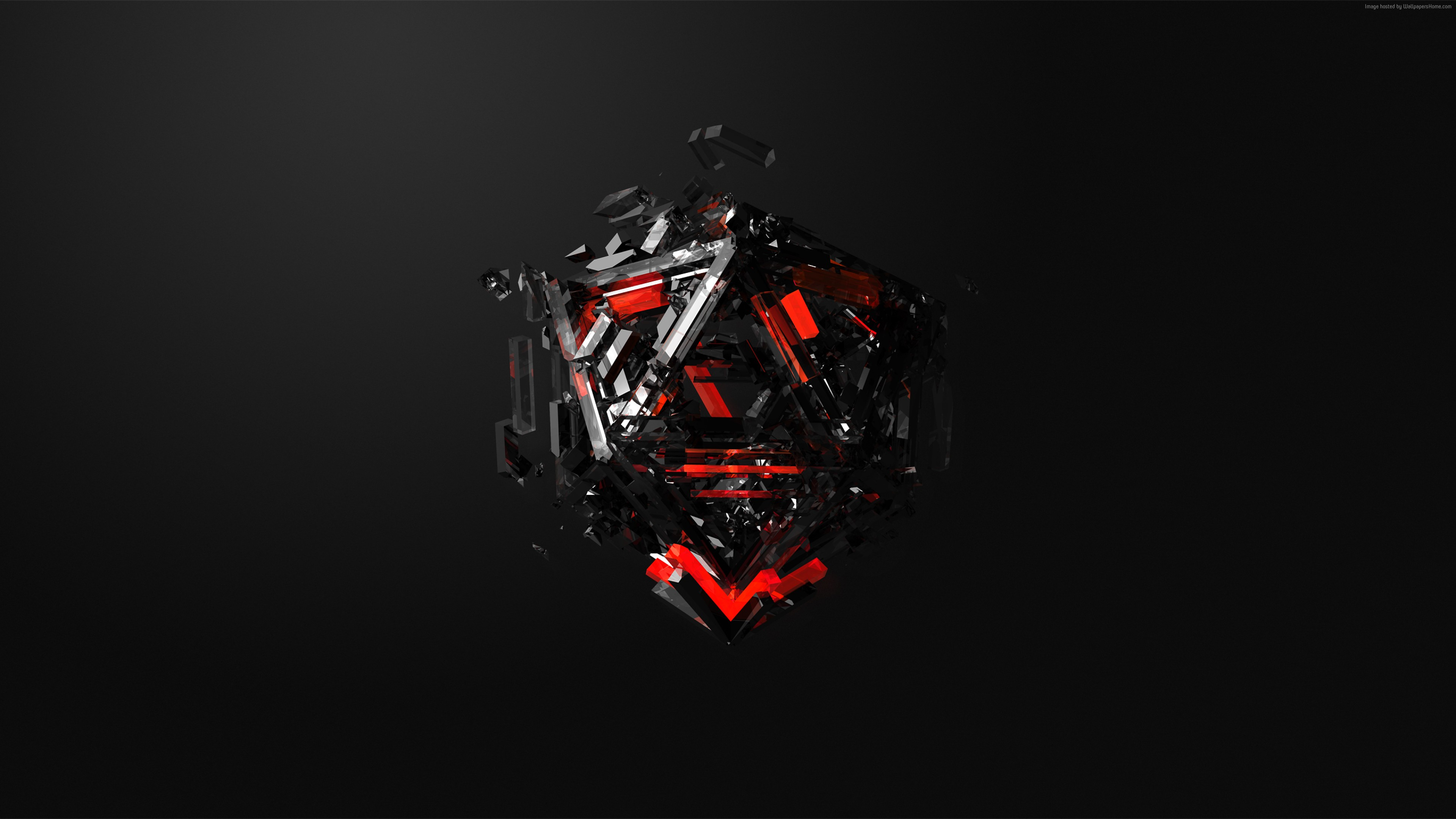 Wallpaper triangles, 3D, red, black, HD, Abstract