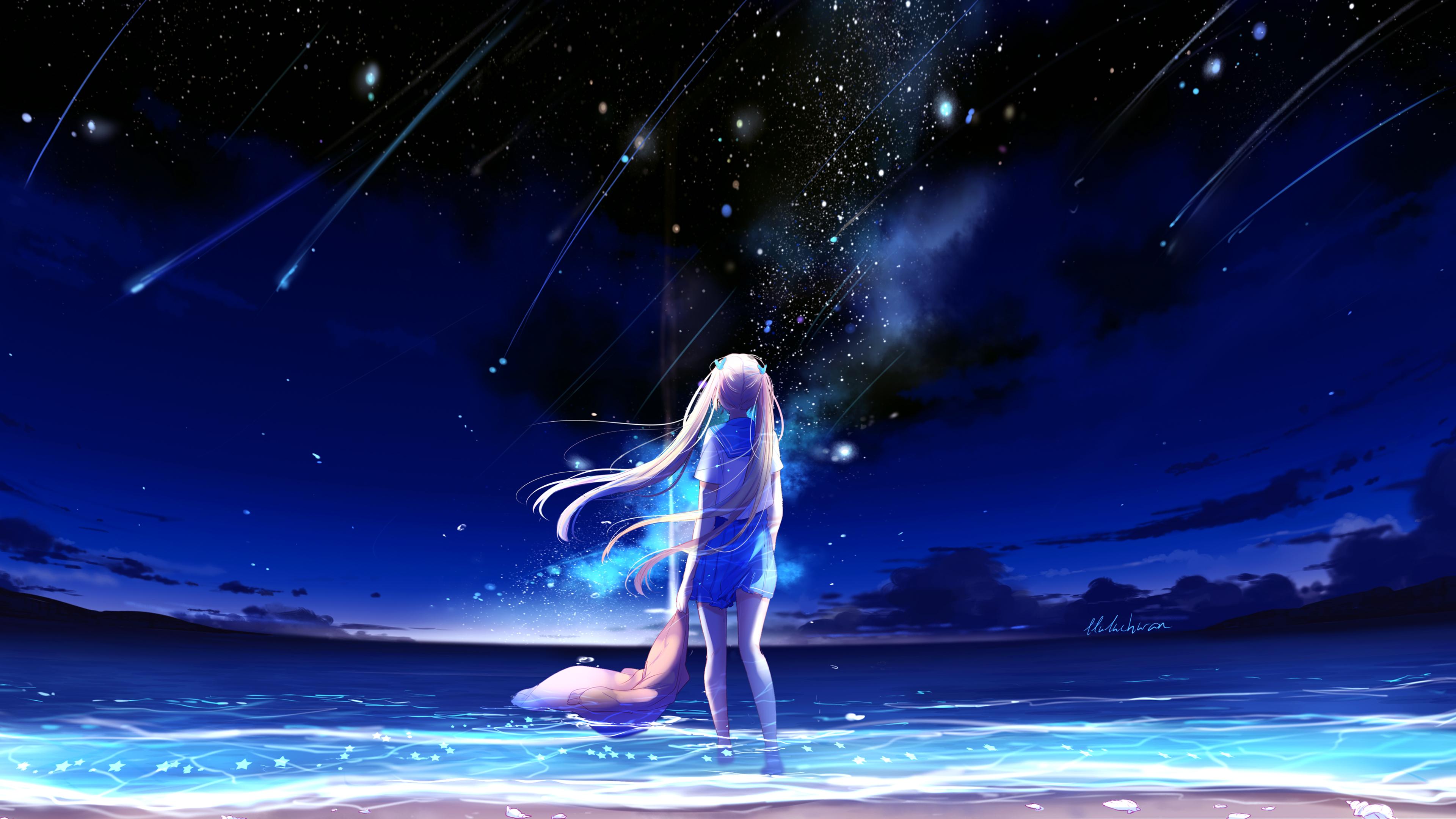 Anime Girl Night Beach 4k Wallpaper Download High