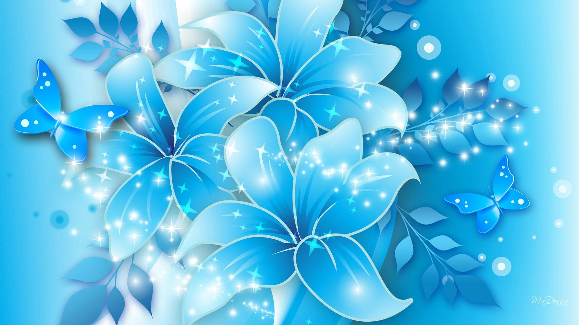 Blue Flower Wallpaper High Resolution 3d Flowers Background Hd