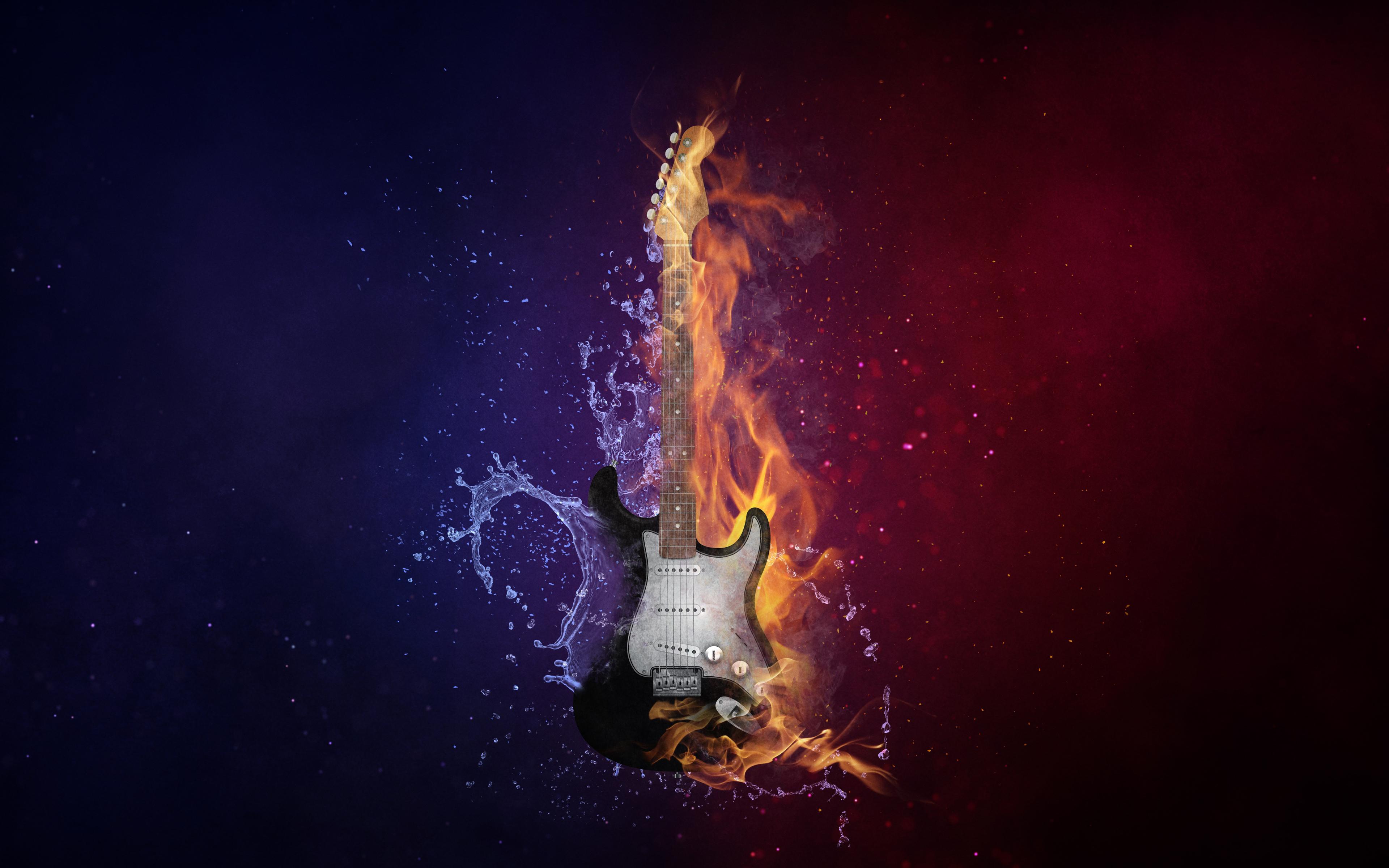 Guitar Fire Cold 5k Wallpaper Download High Resolution 4k Wallpaper