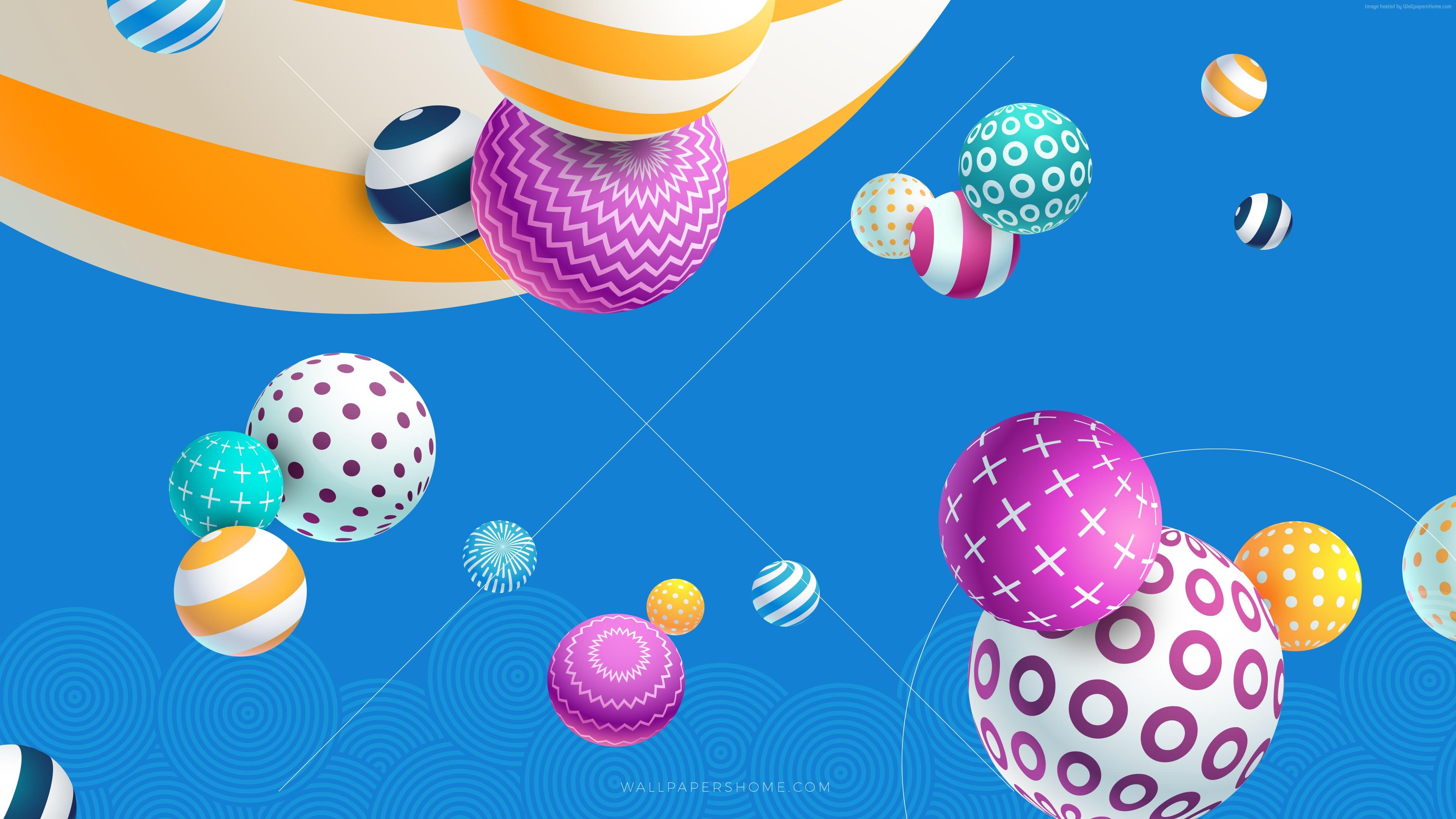 Wallpaper Abstract Balls Colorful Modern 4k 5k 8k