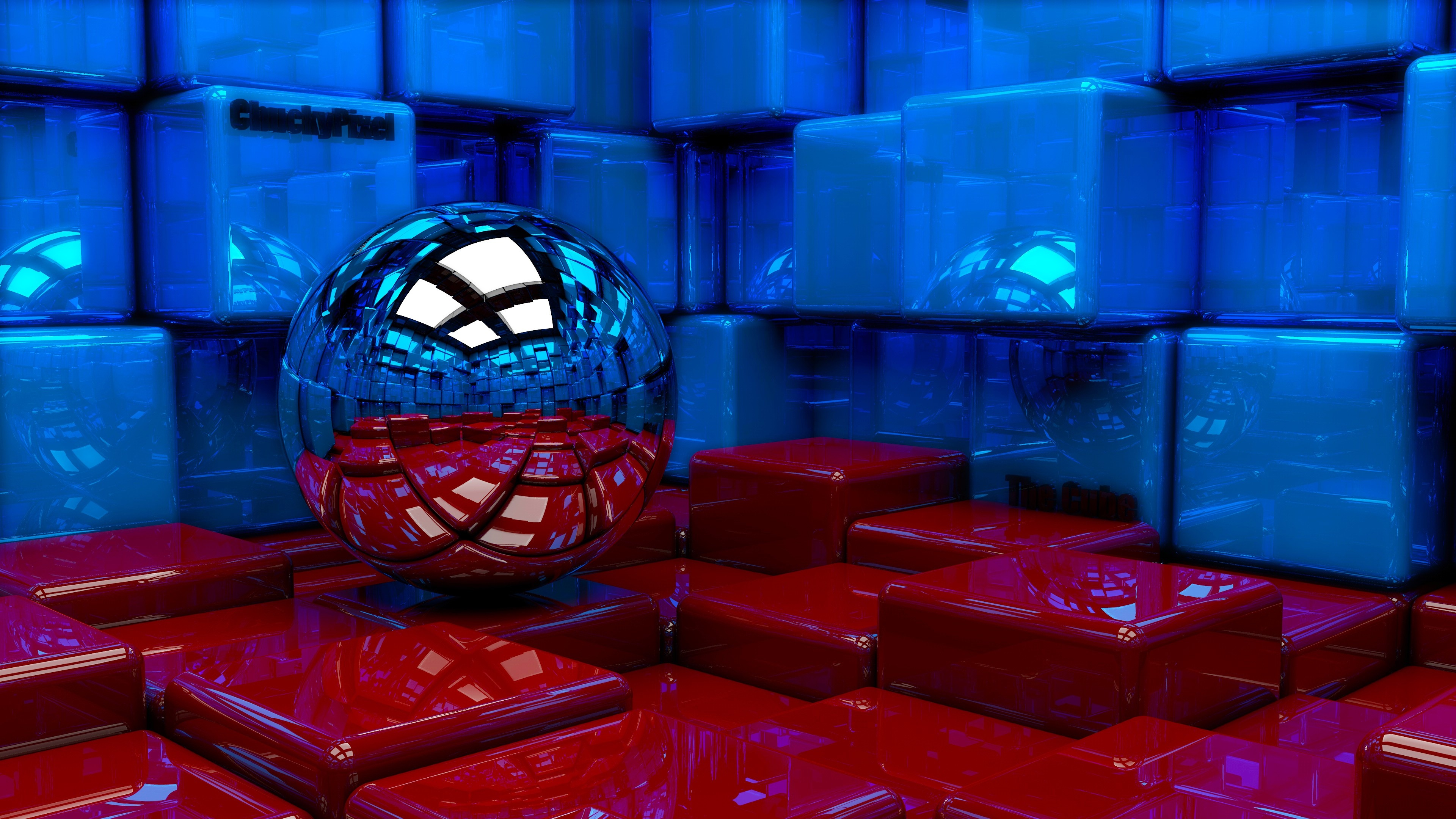 Wallpaper Ball, Cubes, Metal, Blue, Red, Reflection