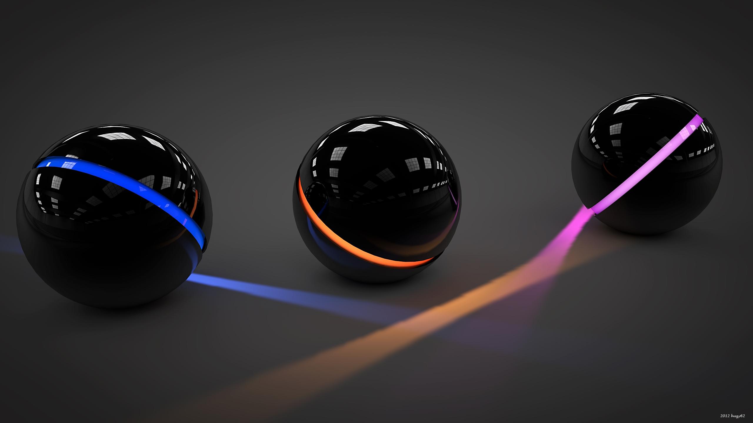 Wallpaper Balls, Light, Glass, Neon