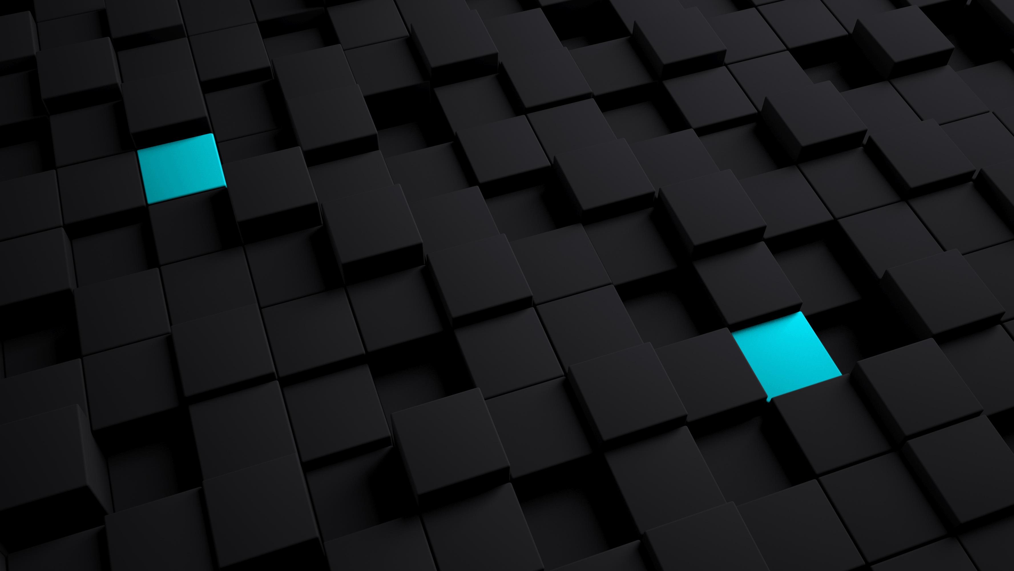 Wallpaper Cubes, Structure, Black, Blue