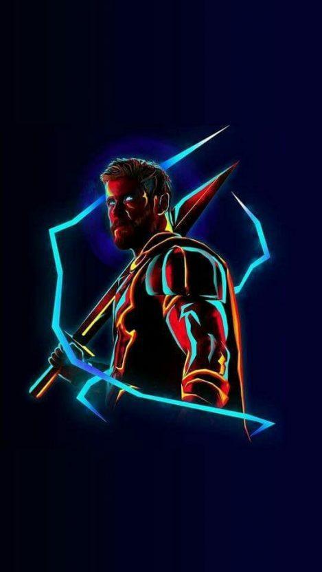 Thor Neon Avengers Infinity War Iphone Iphones Wallpapers 4k