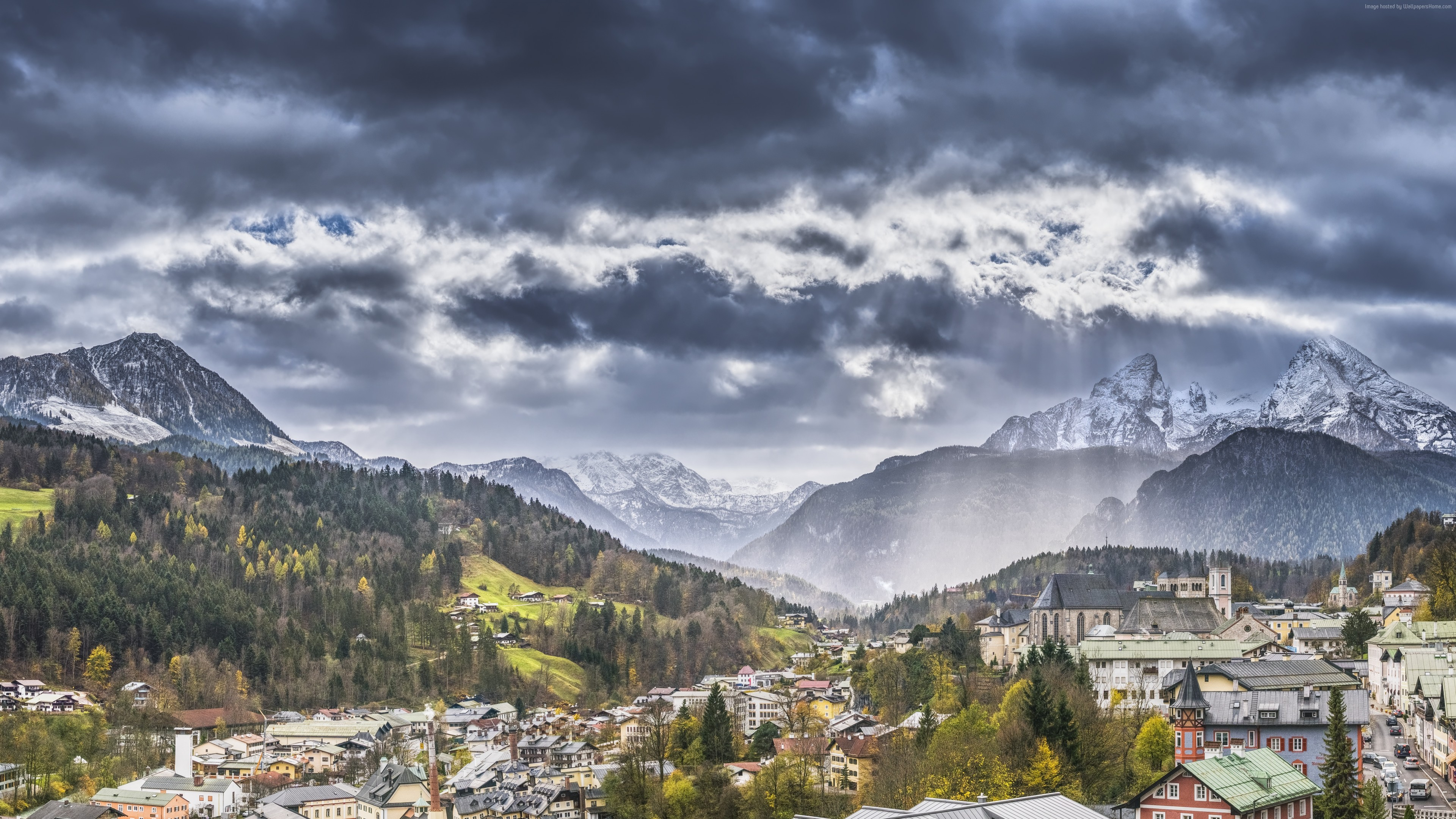 Stock Images Alps, Switzerland, Europe, mountains, trees, sky, clouds, 8k, Stock Images