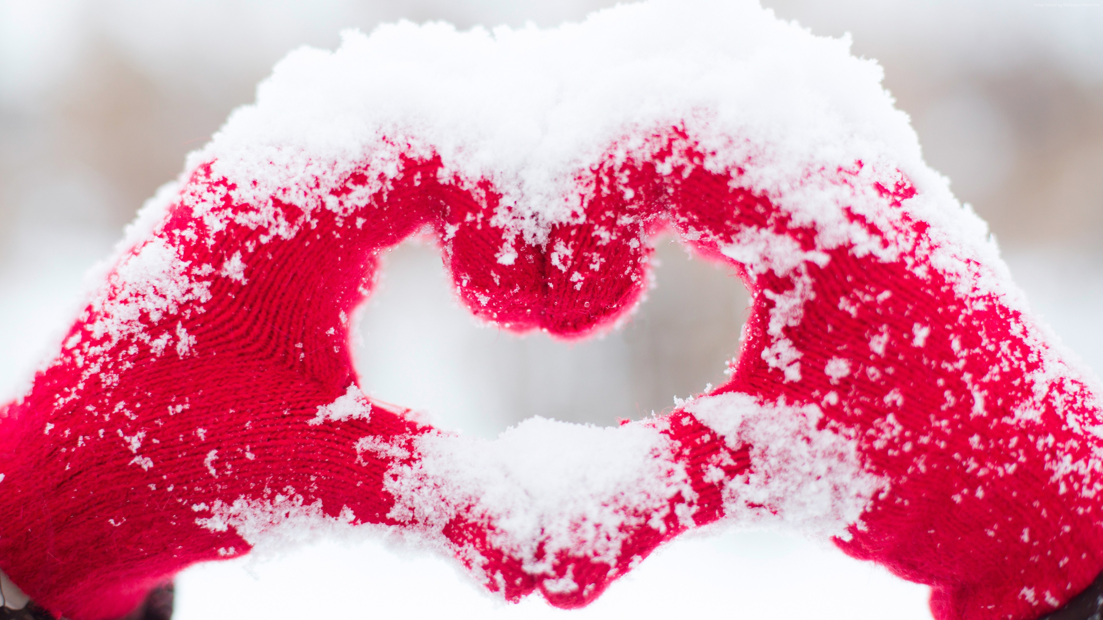 Stock Images love image, heart, snow, 4k, Stock Images ...