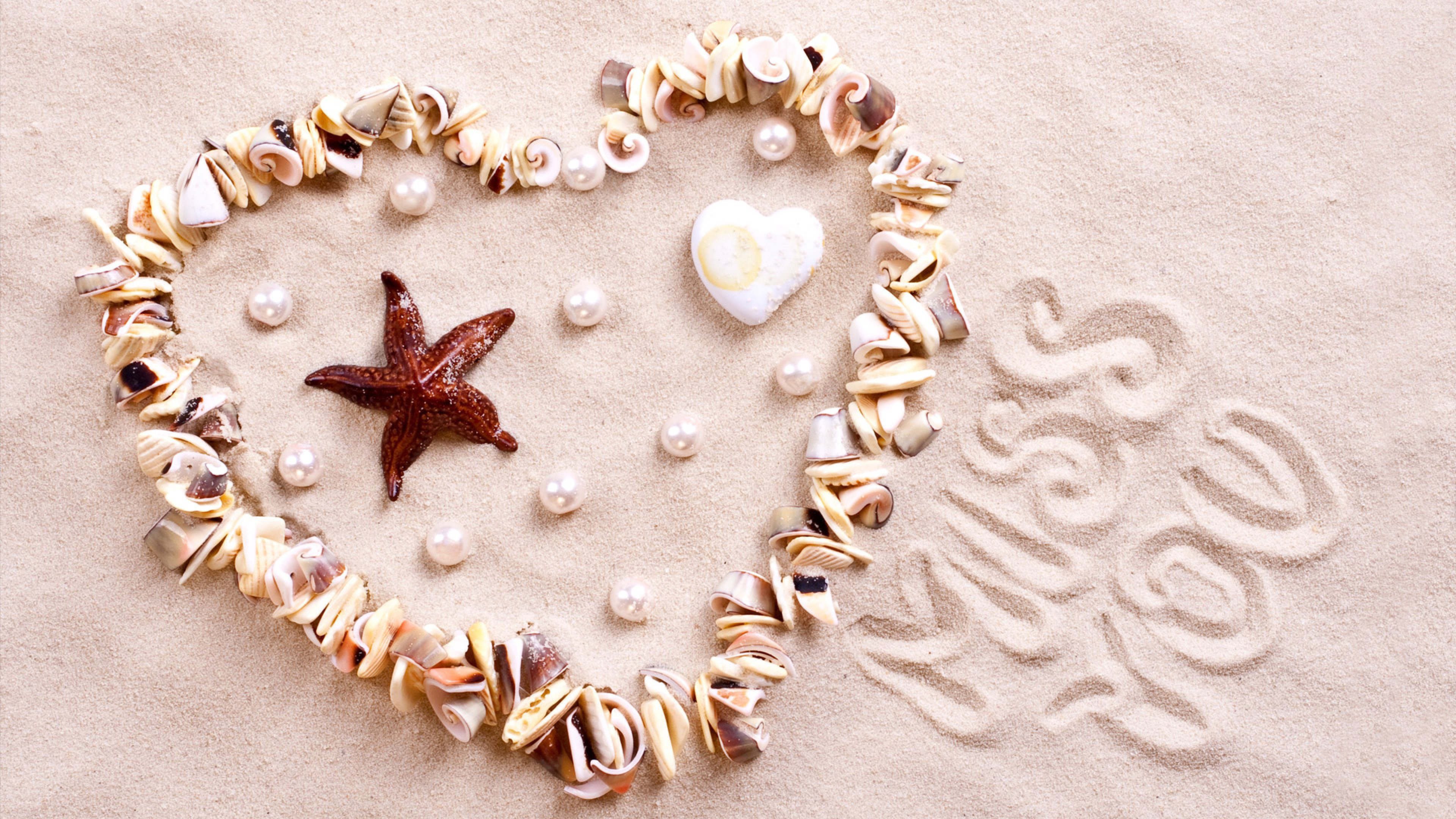 Stock Images love image, heart, starfish, shell, shore, 4k, Stock Images