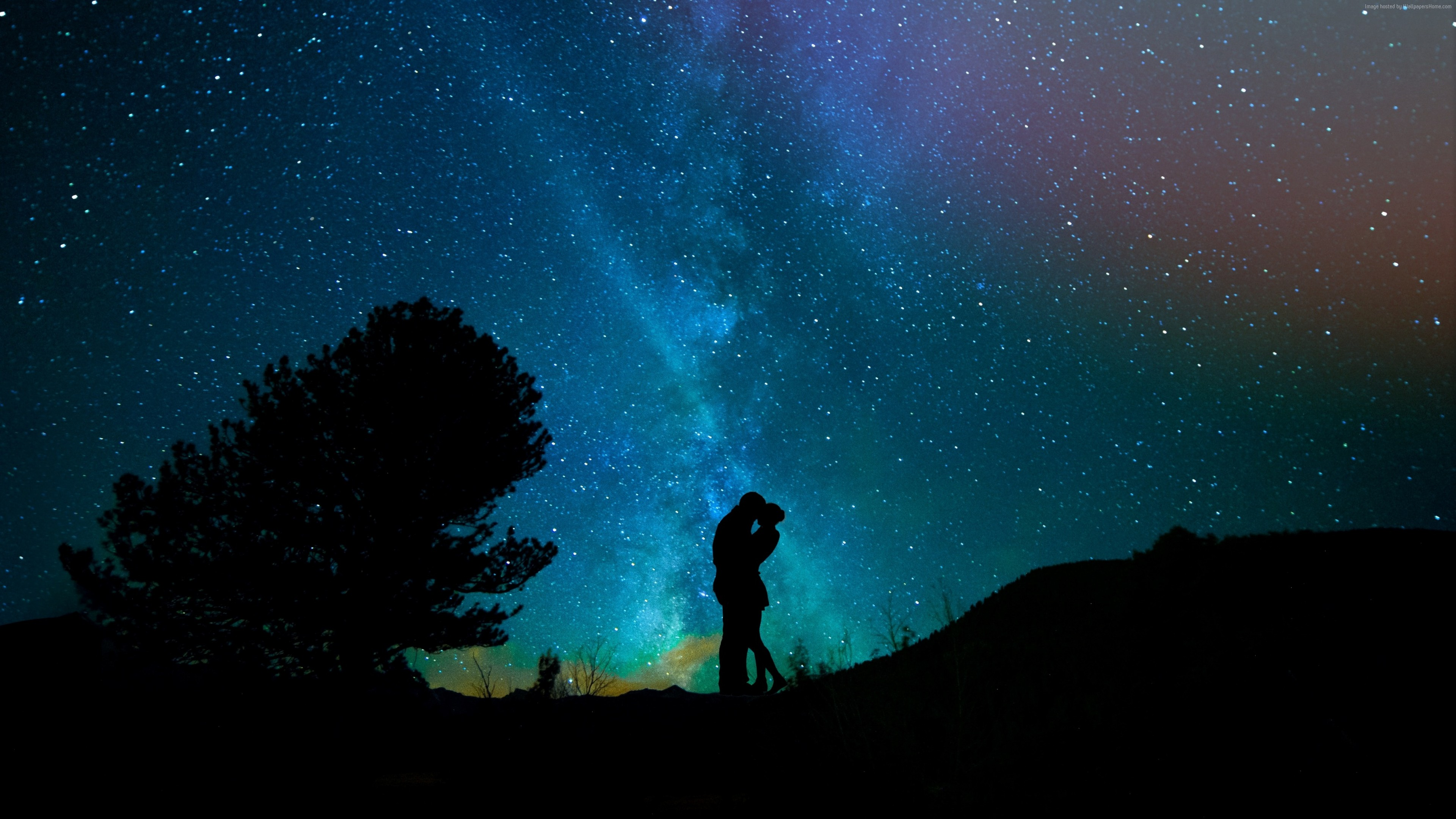 Stock Images love image, kiss, night, sky, stars, 4k, Stock Images