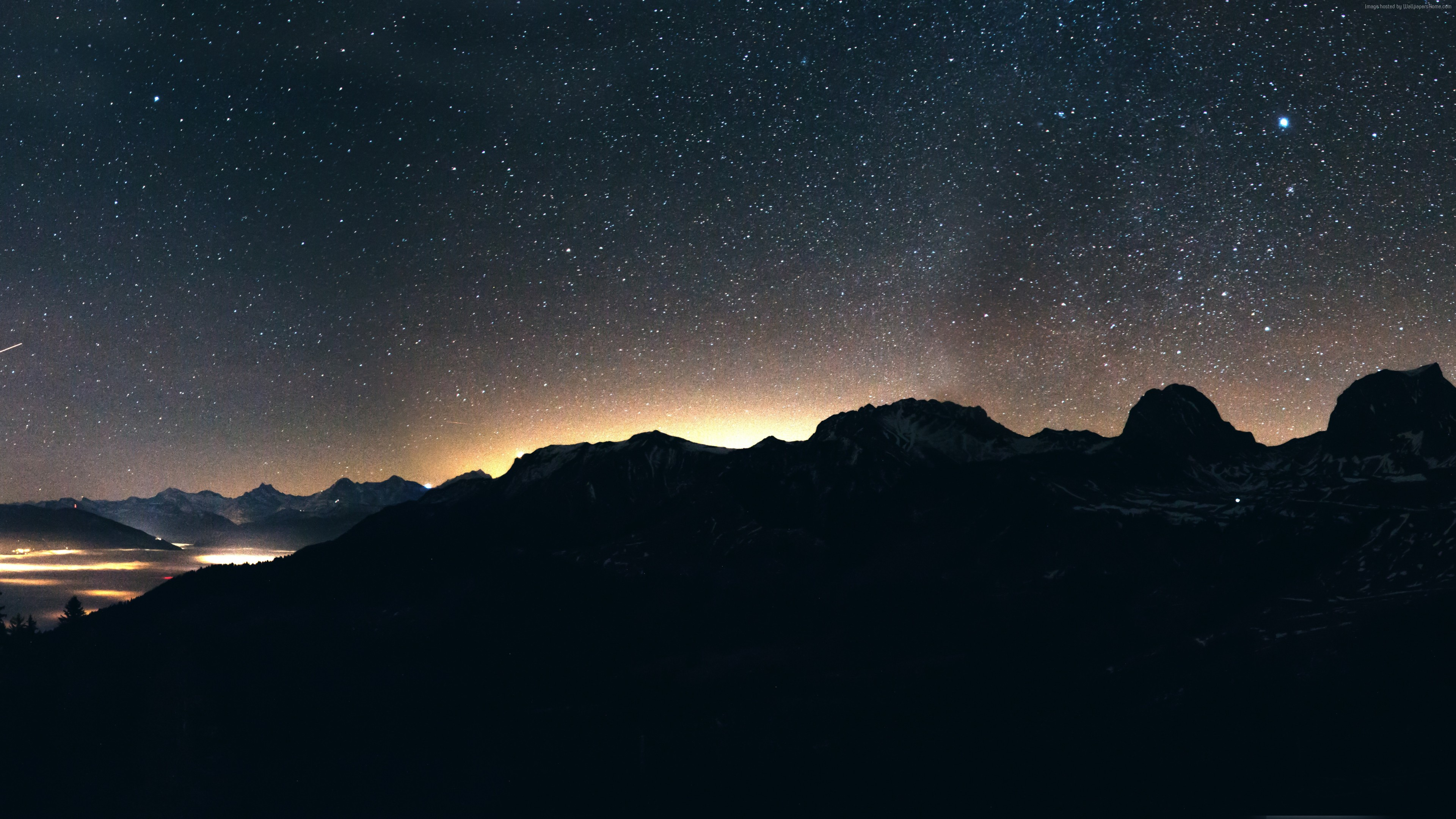 Stock Images night, sky, mountains, 8k, Stock Images