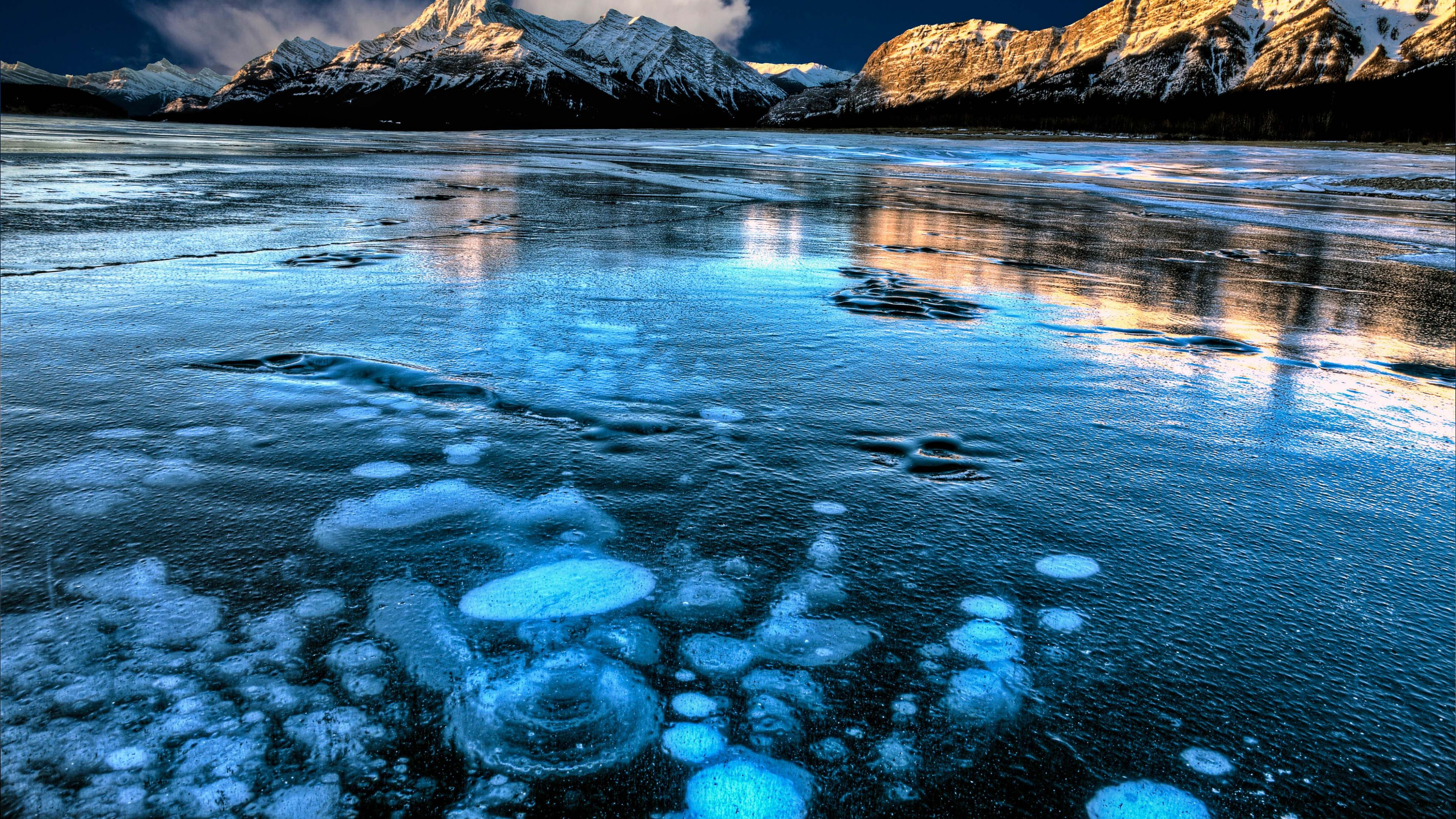Wallpaper Abraham Lake Canada Mountain Ice 4k Travel Wallpaper Download High Resolution 4k Wallpaper