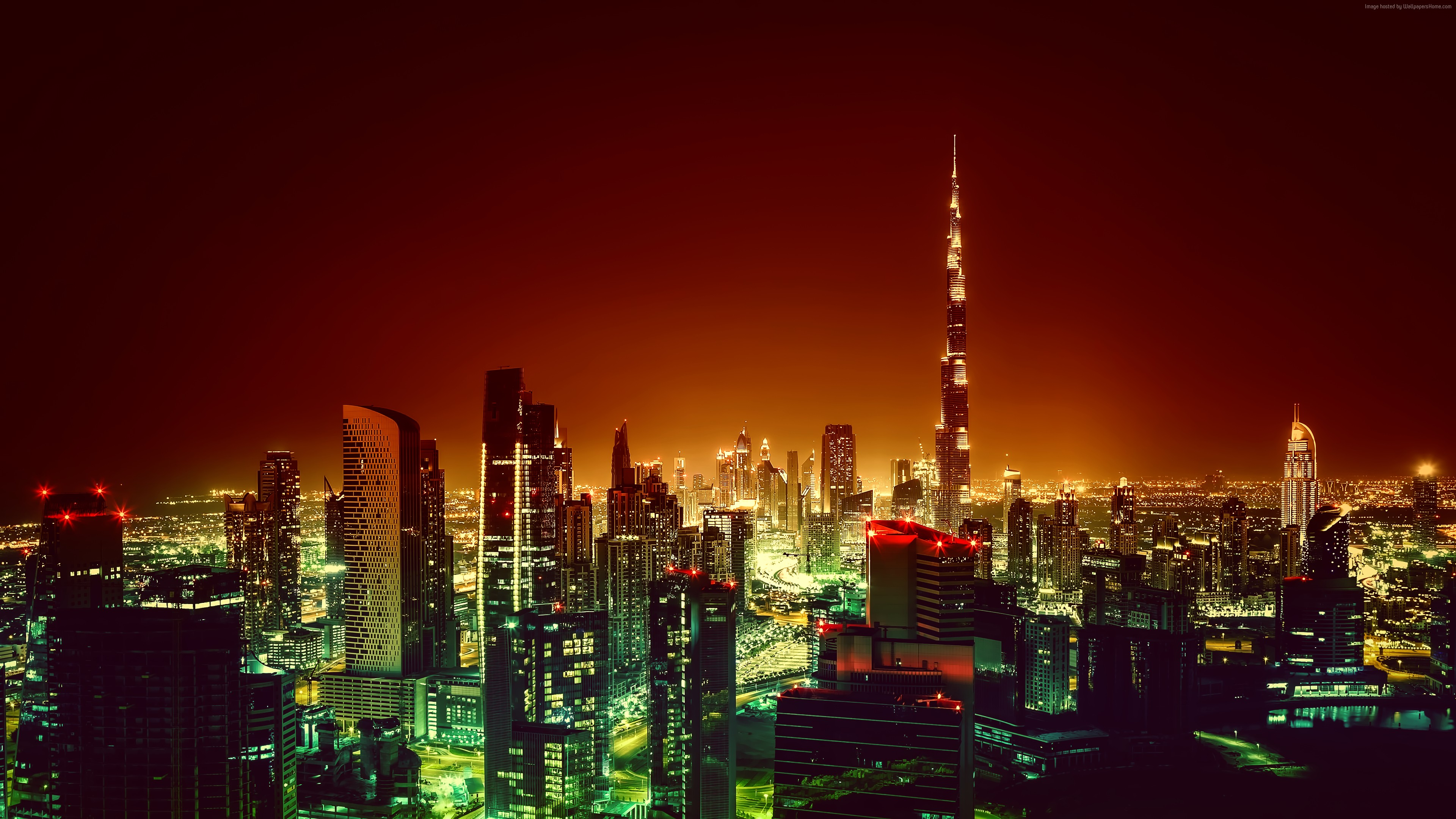 Wallpaper Burj Khalifa, Dubai, Cityscape, Night, 4K, Architecture