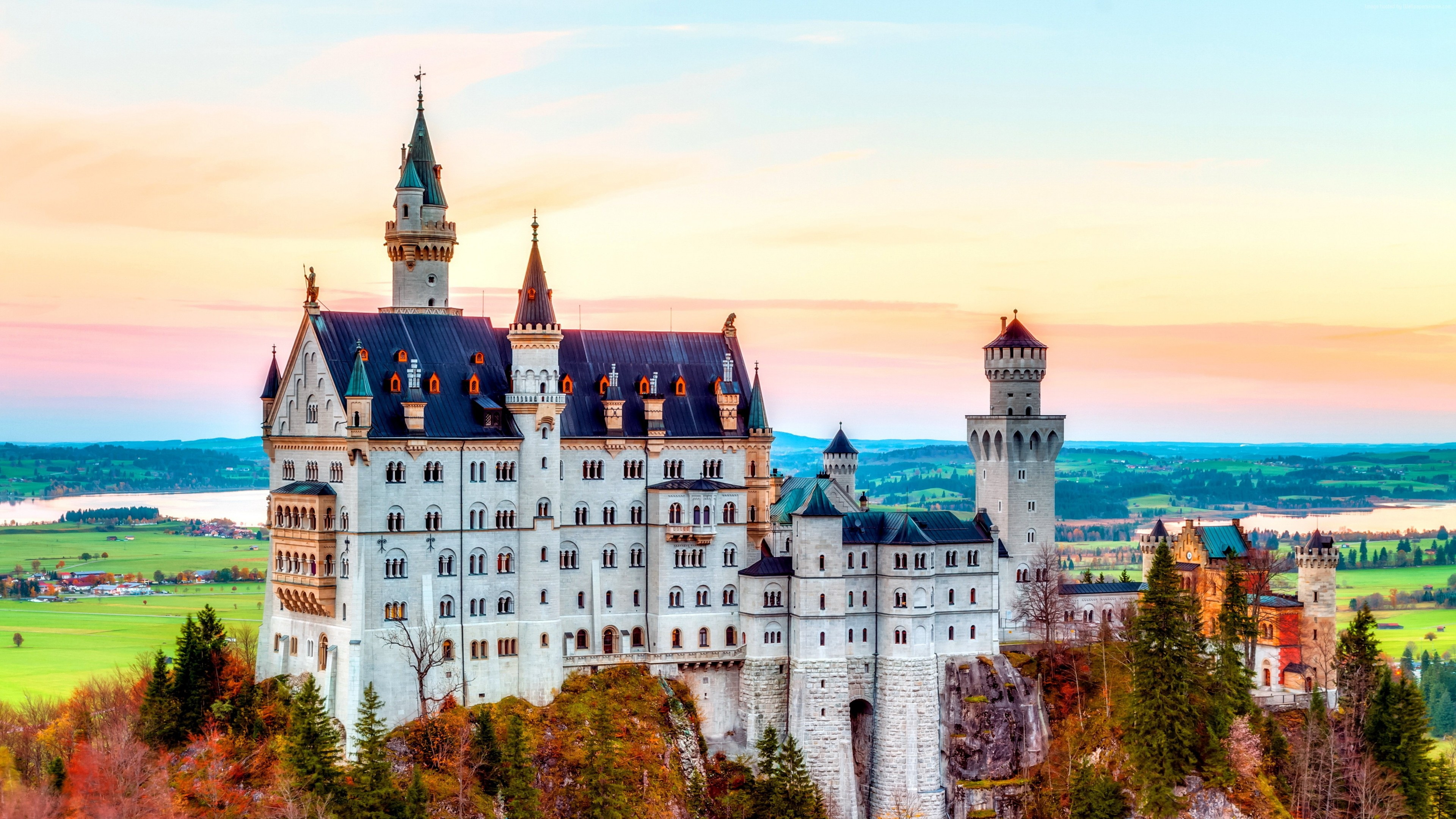 Wallpaper Castle, Neuschwanstein, alps, Autumn, bavaria, Germany, Mountain, sky, travel, Architecture