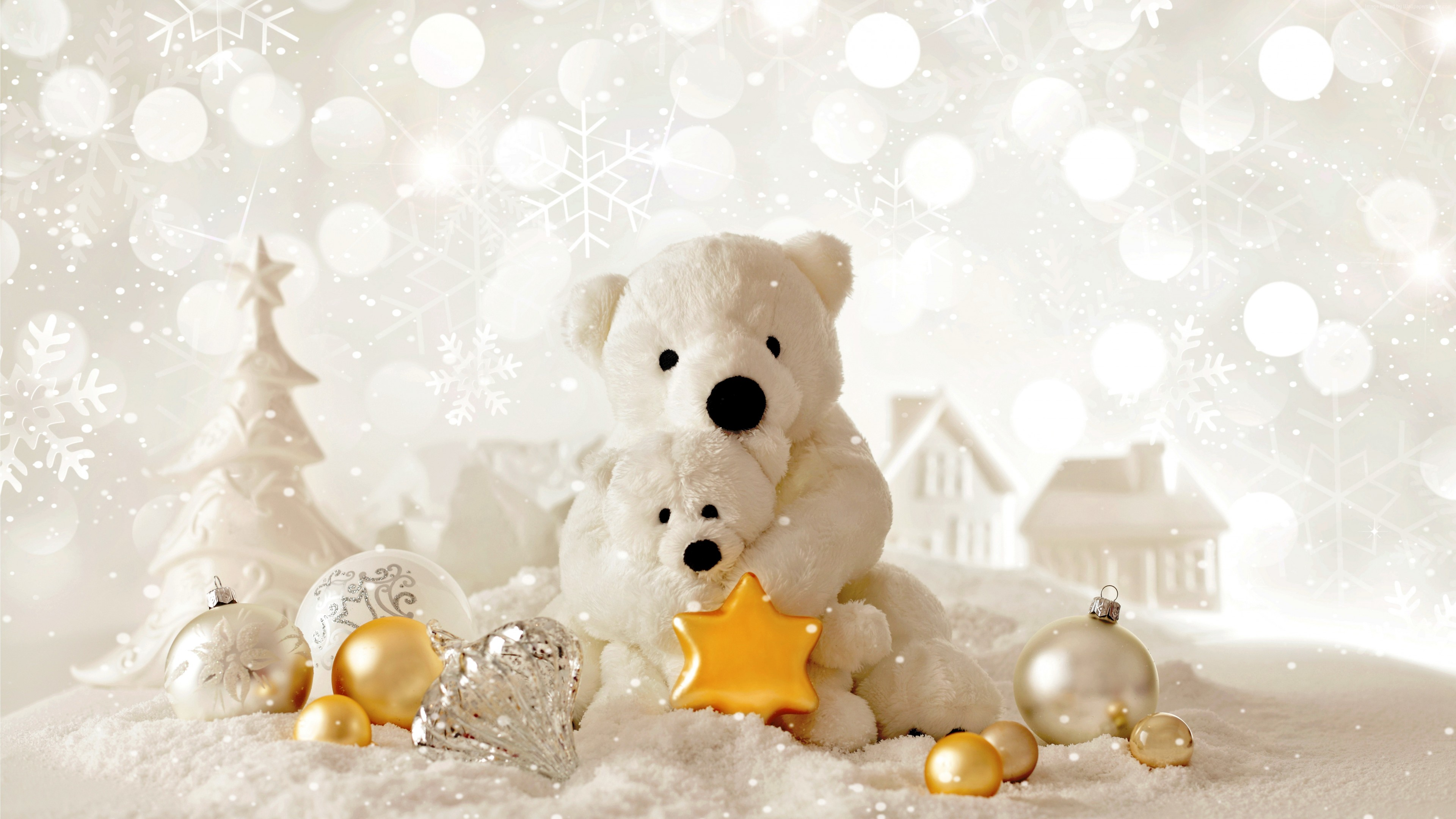 Wallpaper Christmas, New Year, Bear, decorations, Holidays