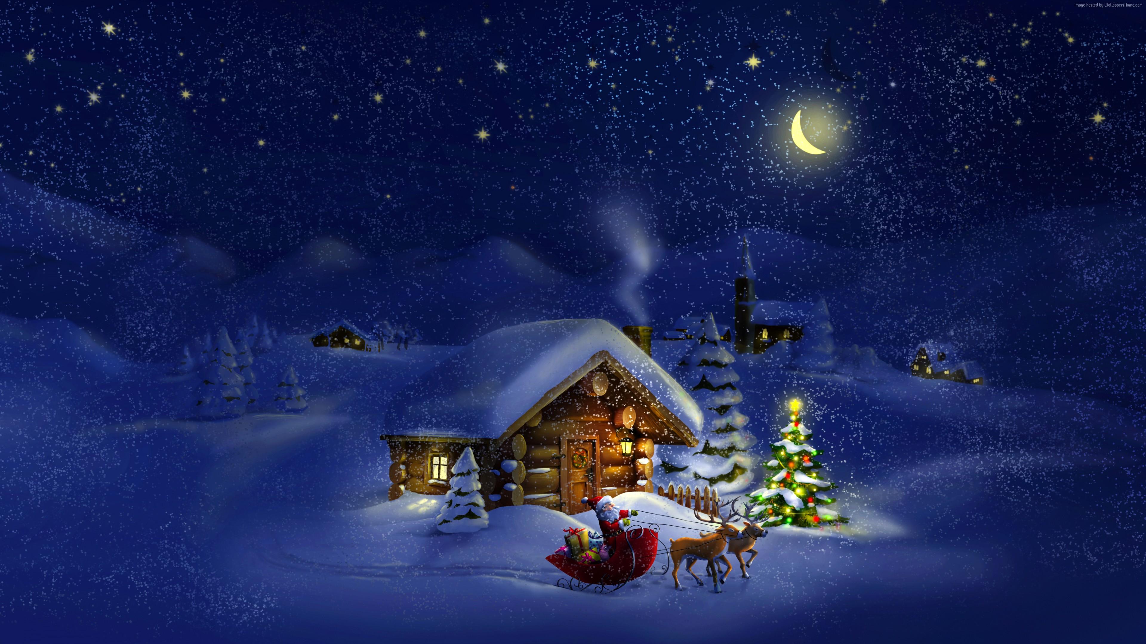 Wallpaper Christmas New Year Santa Deer Moon Night Winter House Snow 4k Holidays Wallpaper Download High Resolution 4k Wallpaper