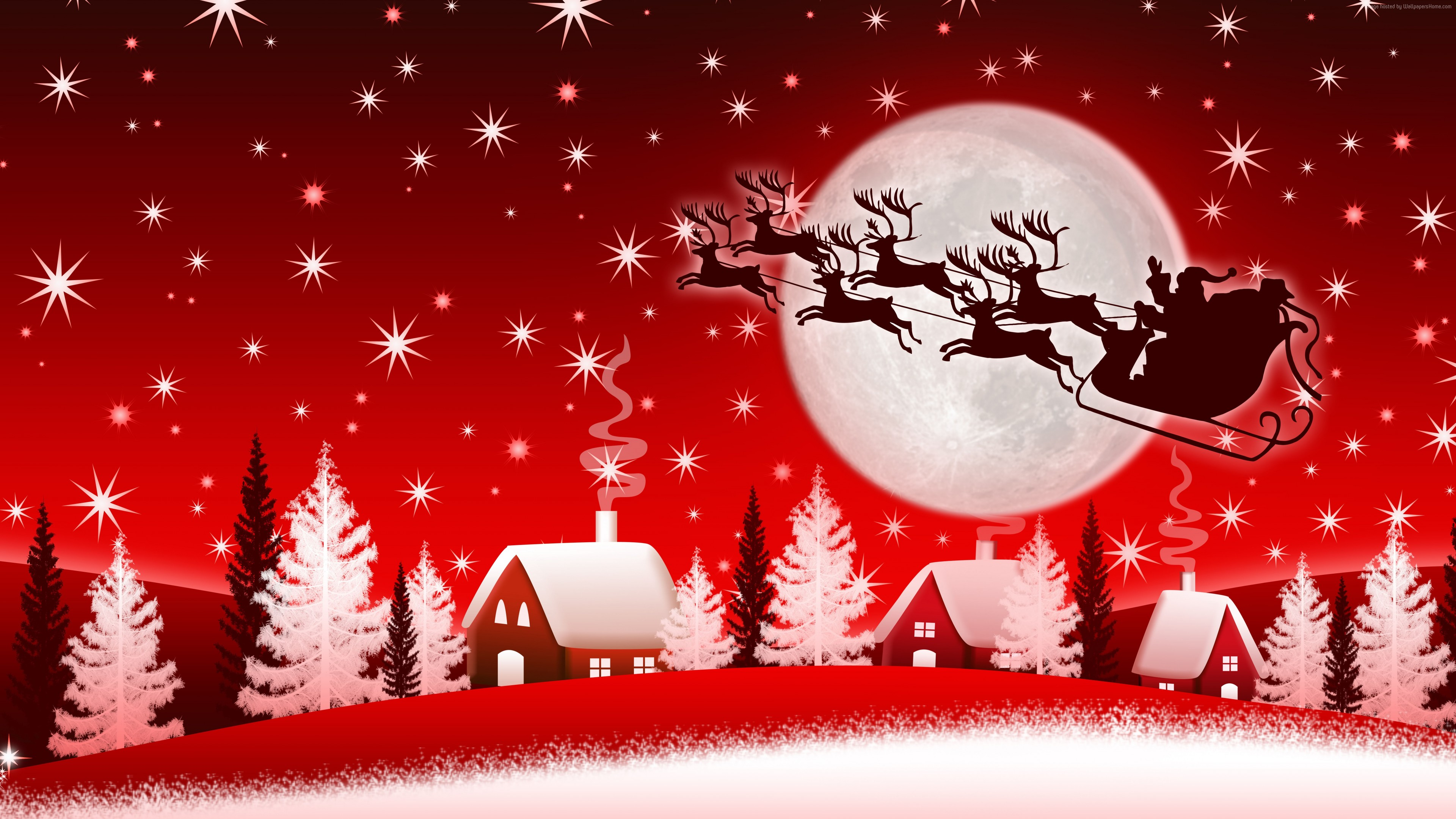 Wallpaper Christmas New Year Santa Deer Moon Winter 8k Holidays Download