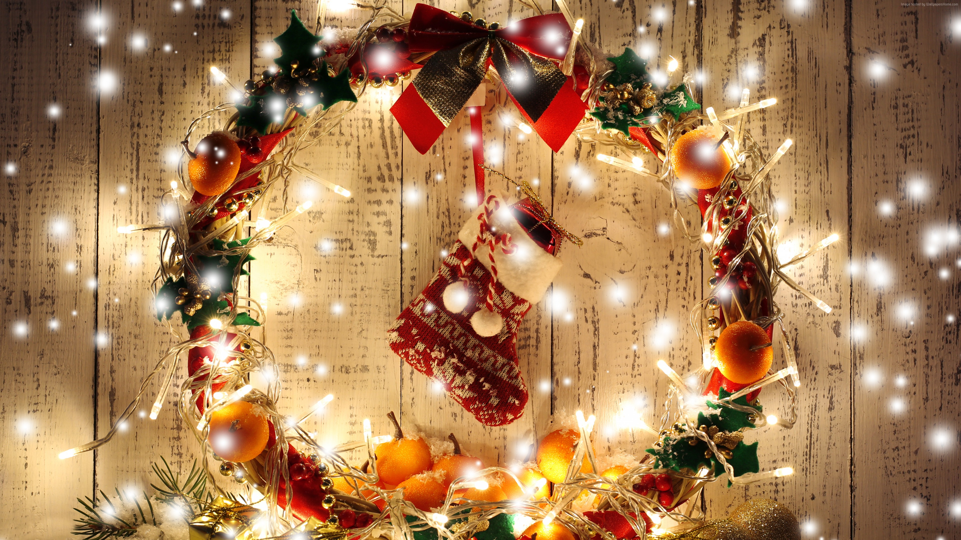 Wallpaper Christmas, New Year, Wreath, garland, gift, balls, decorations, Holidays