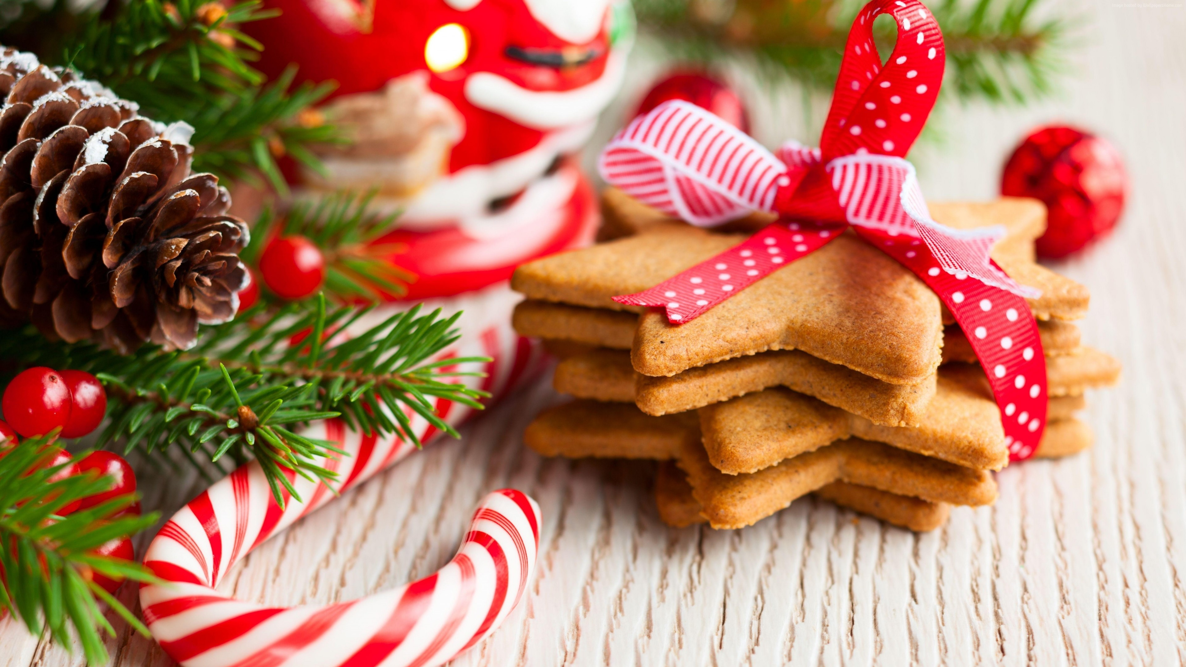 Wallpaper Christmas, New Year, cookies, candy, 5k, Holidays