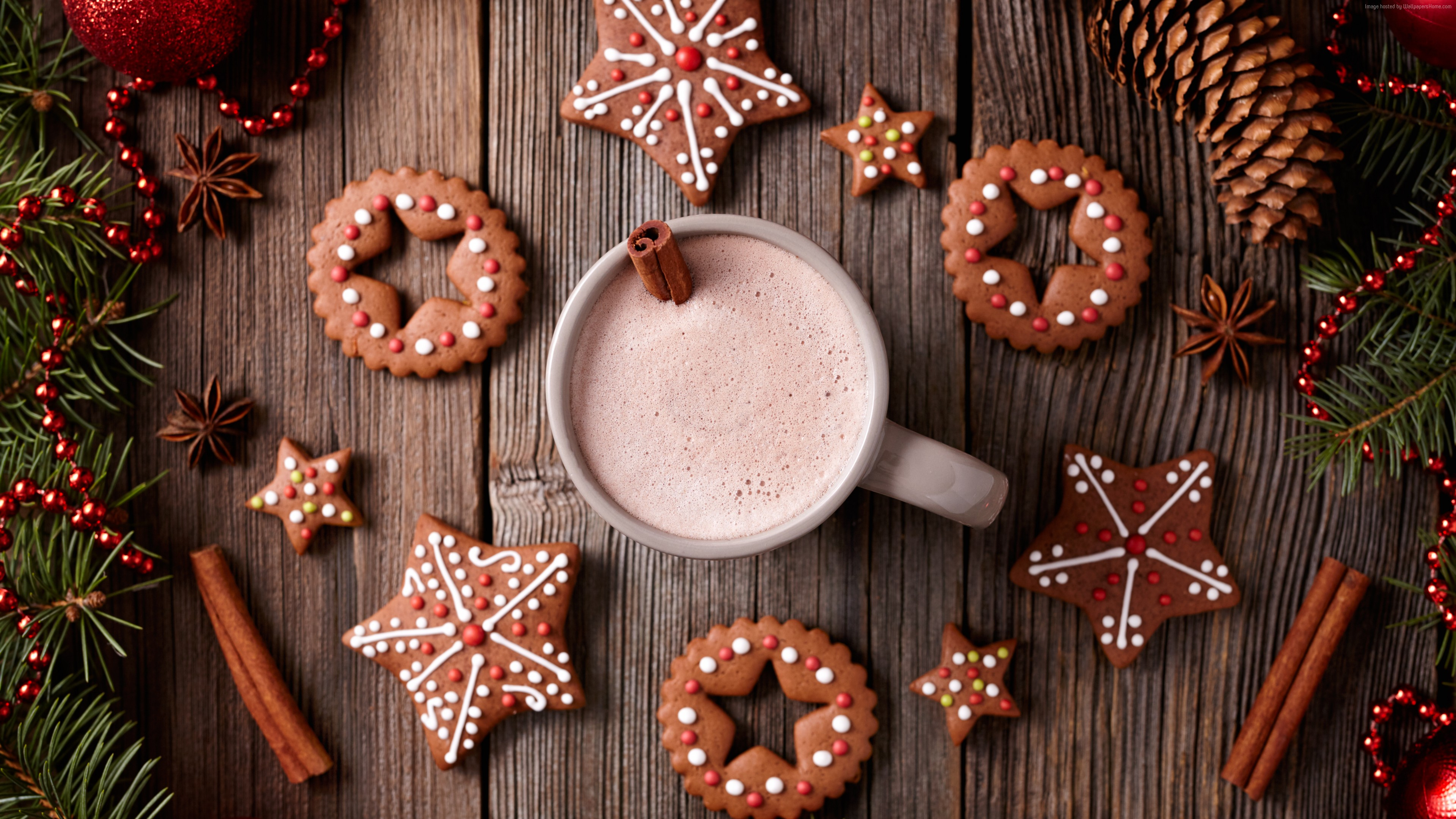 Wallpaper Christmas, New Year, cookies, cocoa, cinnamon, 5k, Holidays