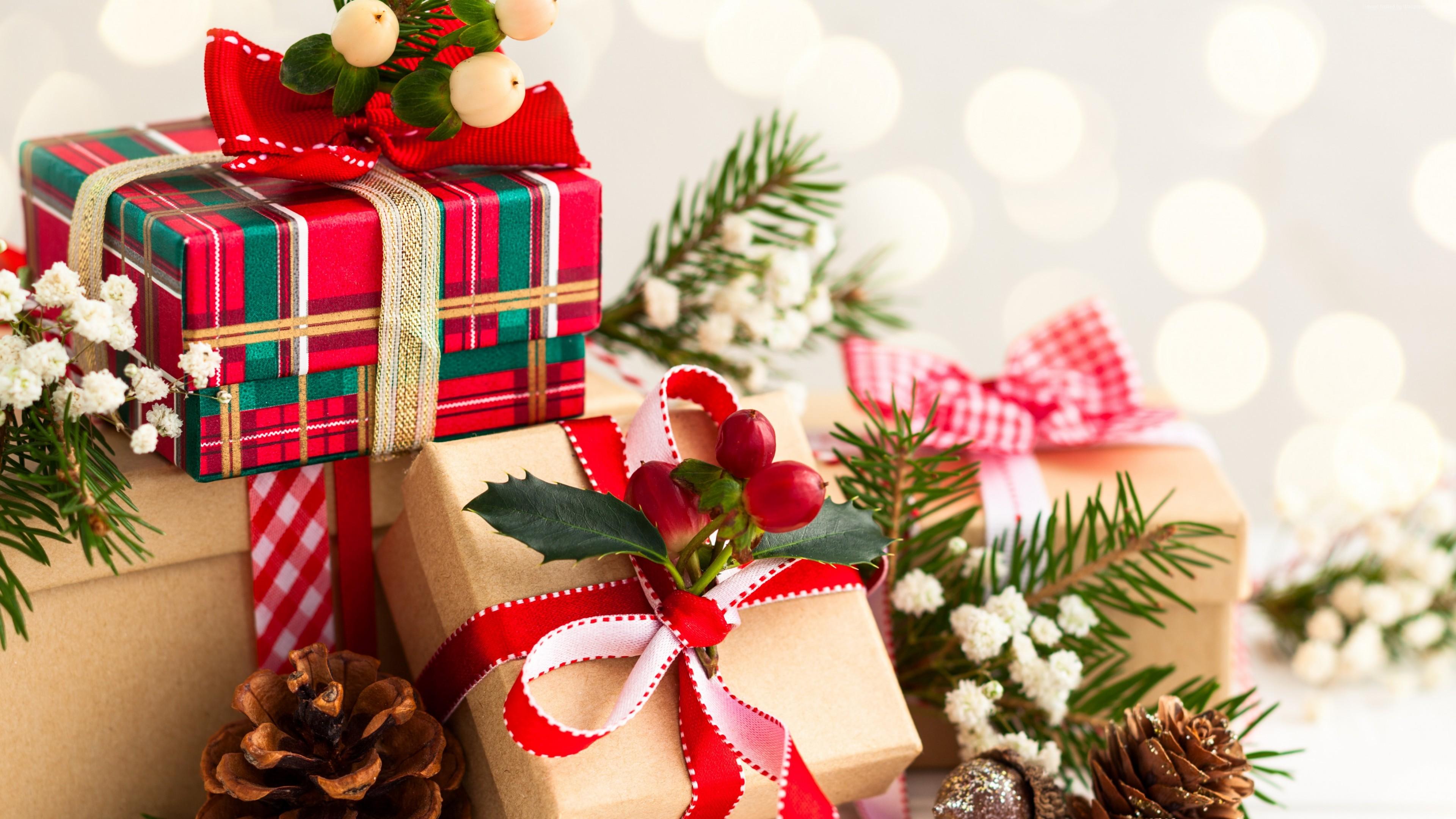 Wallpaper Christmas, New Year, Gifts, 4K, Holidays