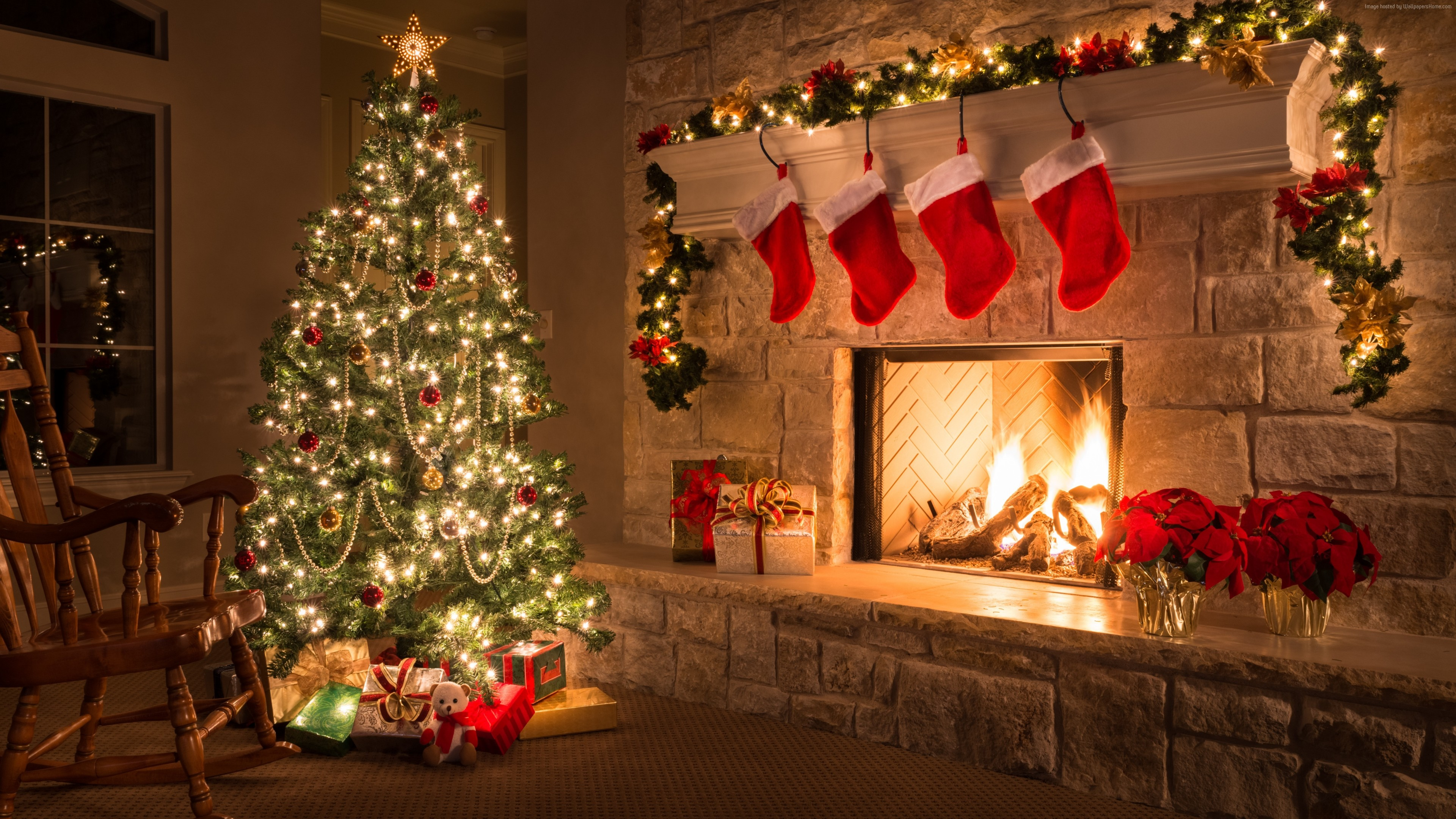 Wallpaper Christmas, New Year, Gifts, Fir Tree, Fireplace, Decorations, 5K, Holidays