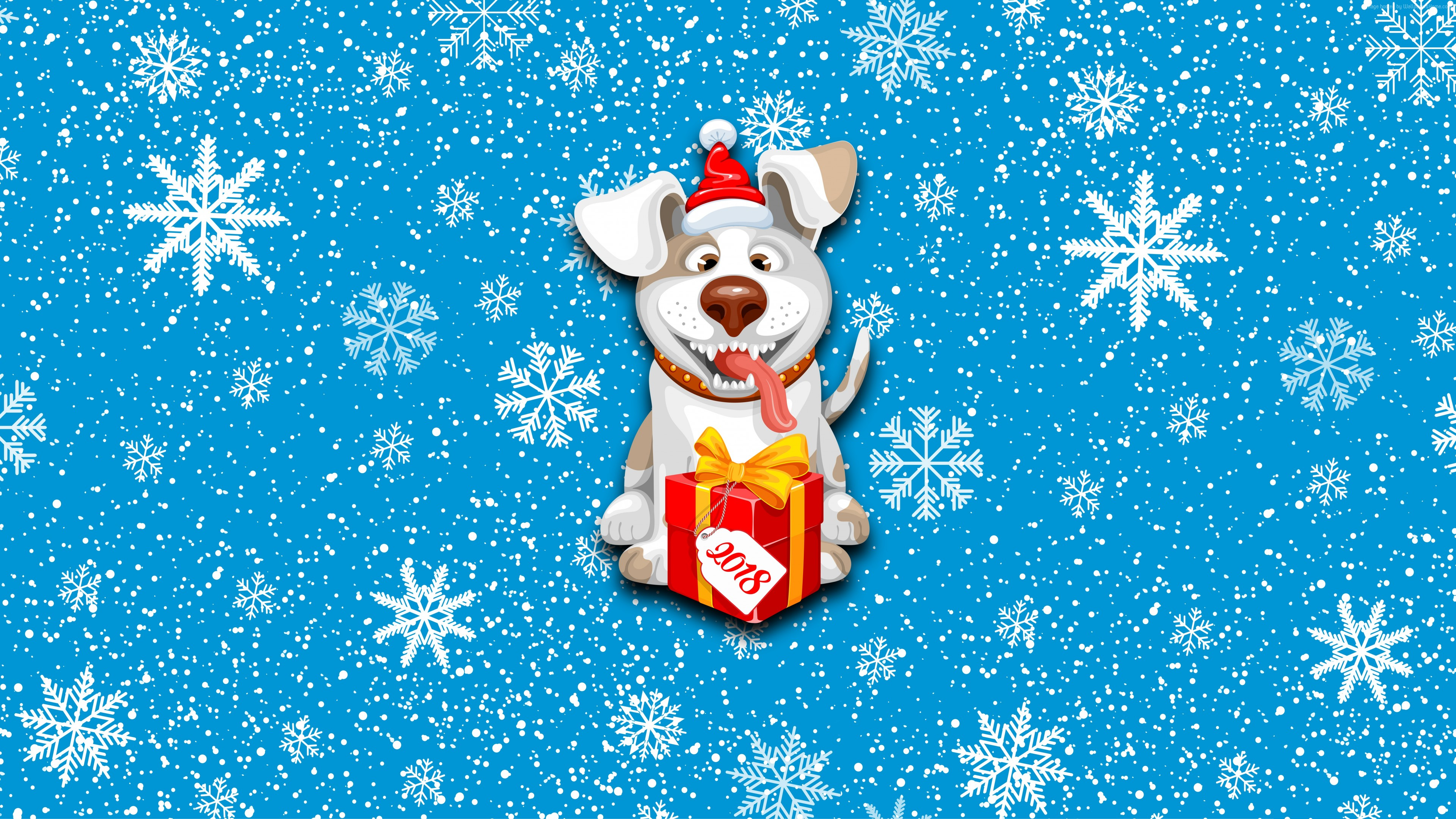 wallpaper christmas, new year, snow, dog, cute animals, 8k, holidays
