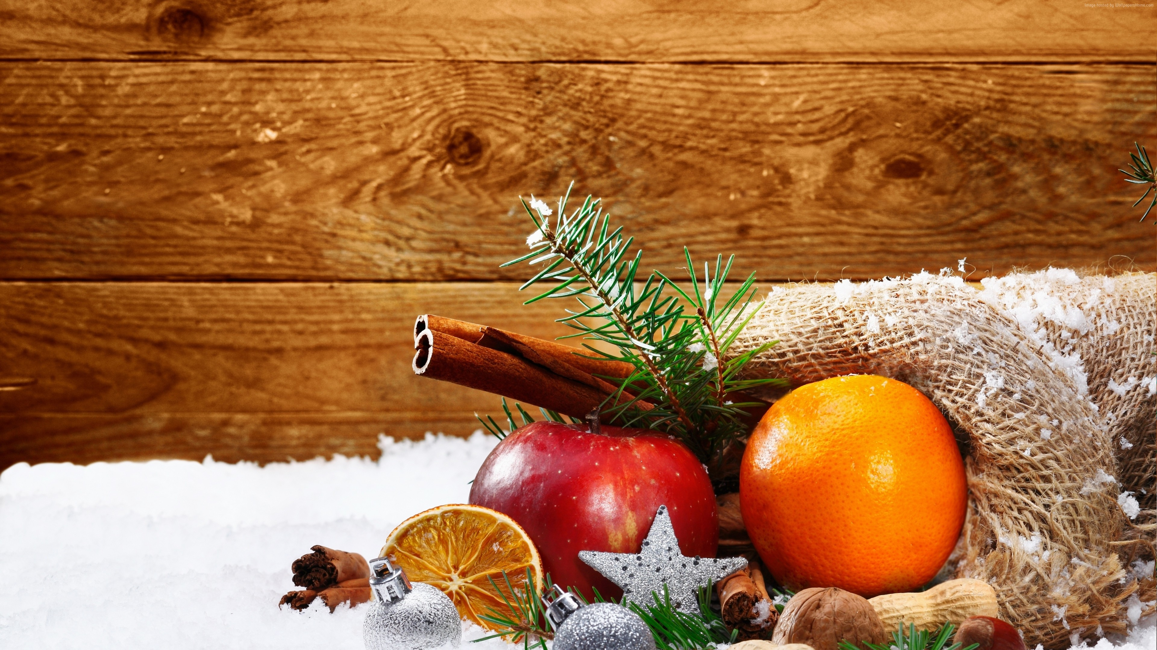 Wallpaper Christmas, New Year, snow, orange, apple, cinnamon, 4k, Holidays