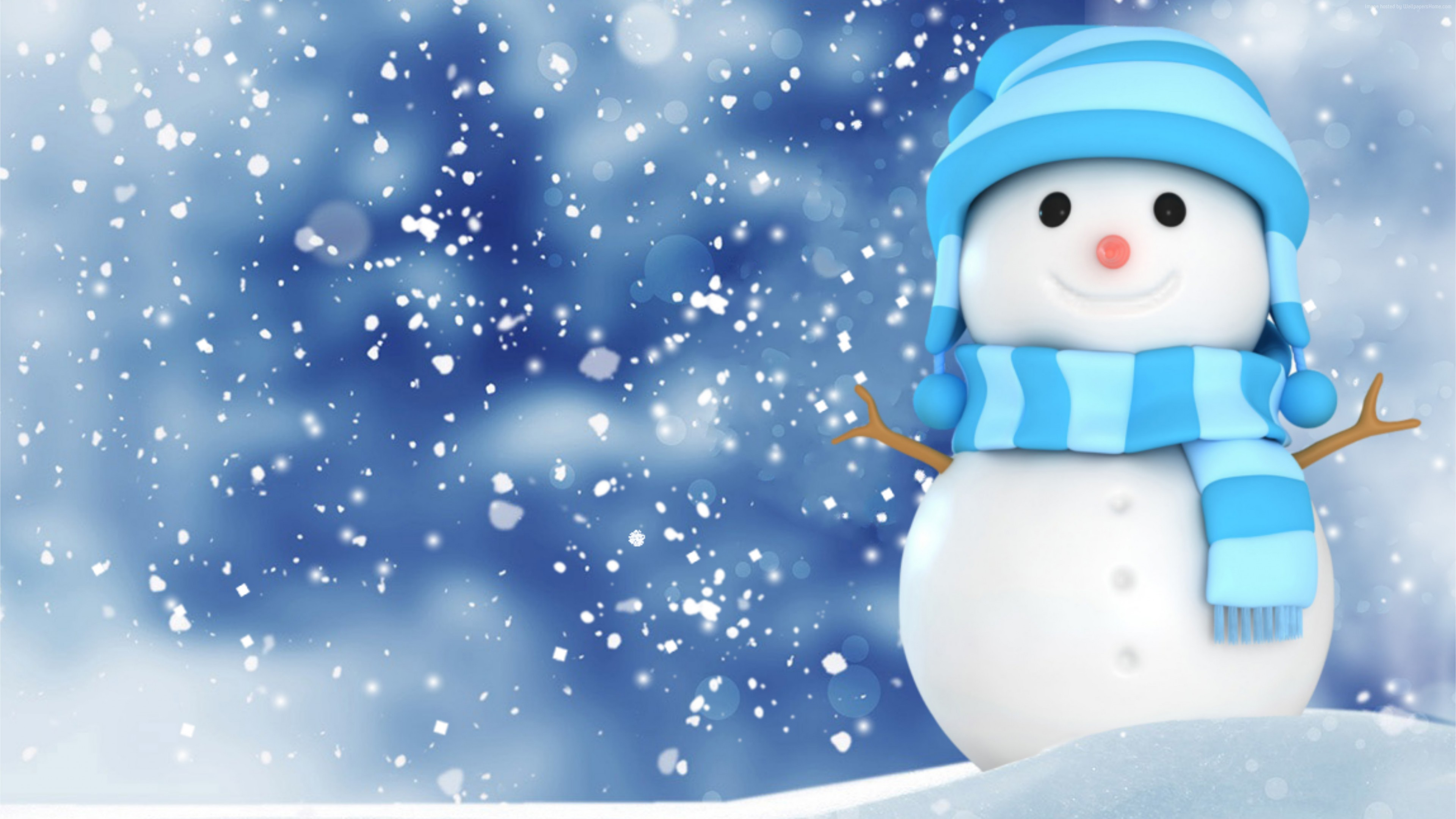 Wallpaper Christmas, New Year, snow, winter, snowman, 4k, Holidays