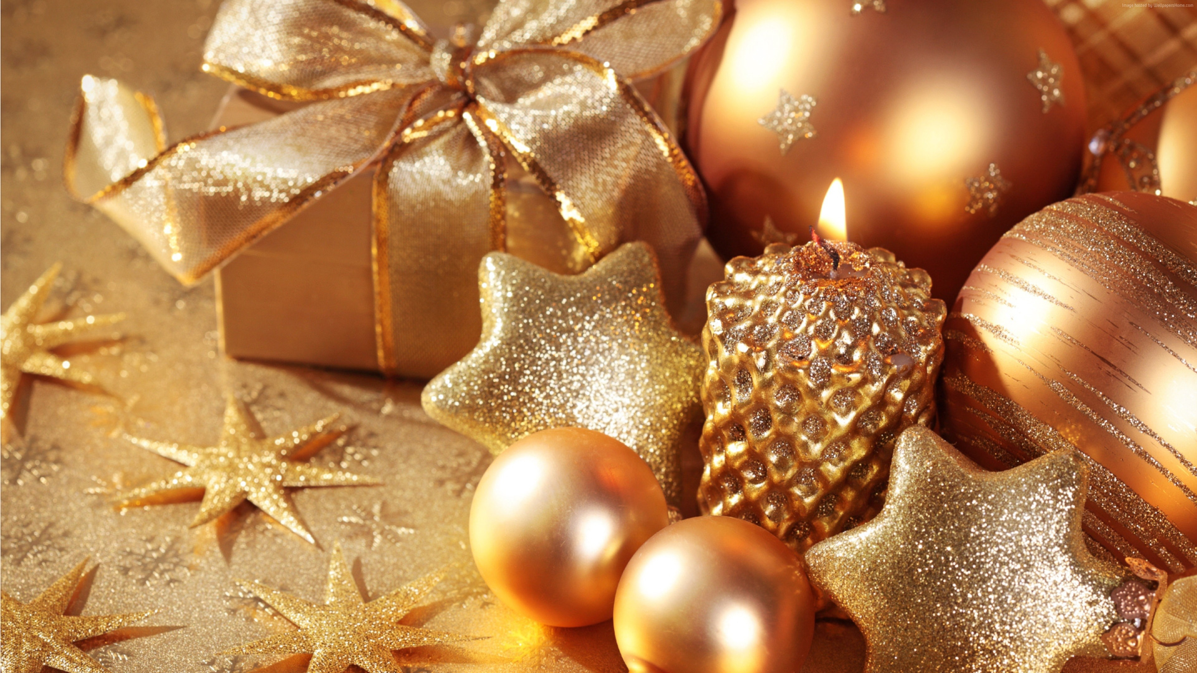 Wallpaper Christmas, New Year, star, candle, gift, balls, gold, decorations, Holidays