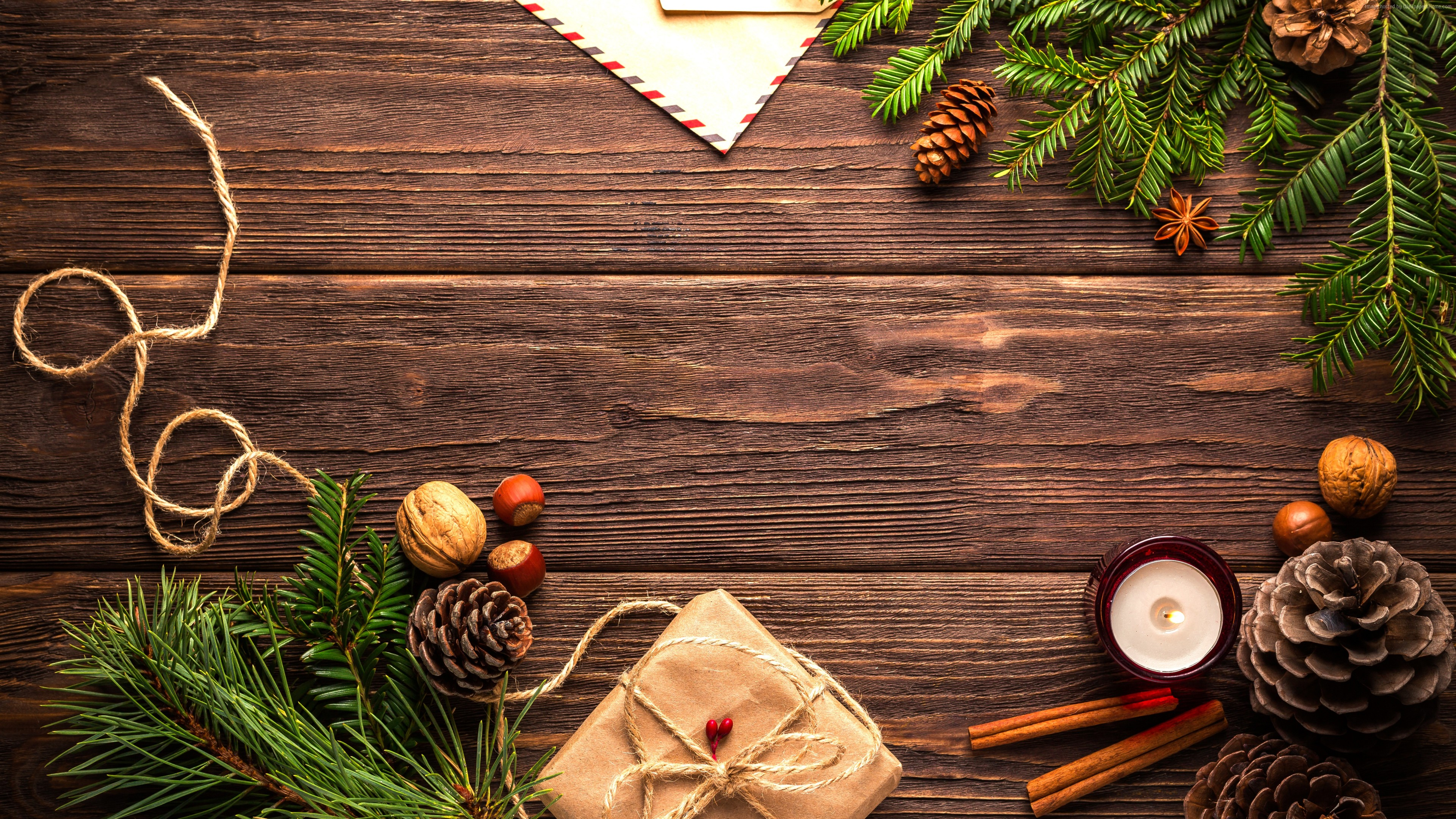 Wallpaper Christmas, New Year, table, fir-tree, 5k, Holidays