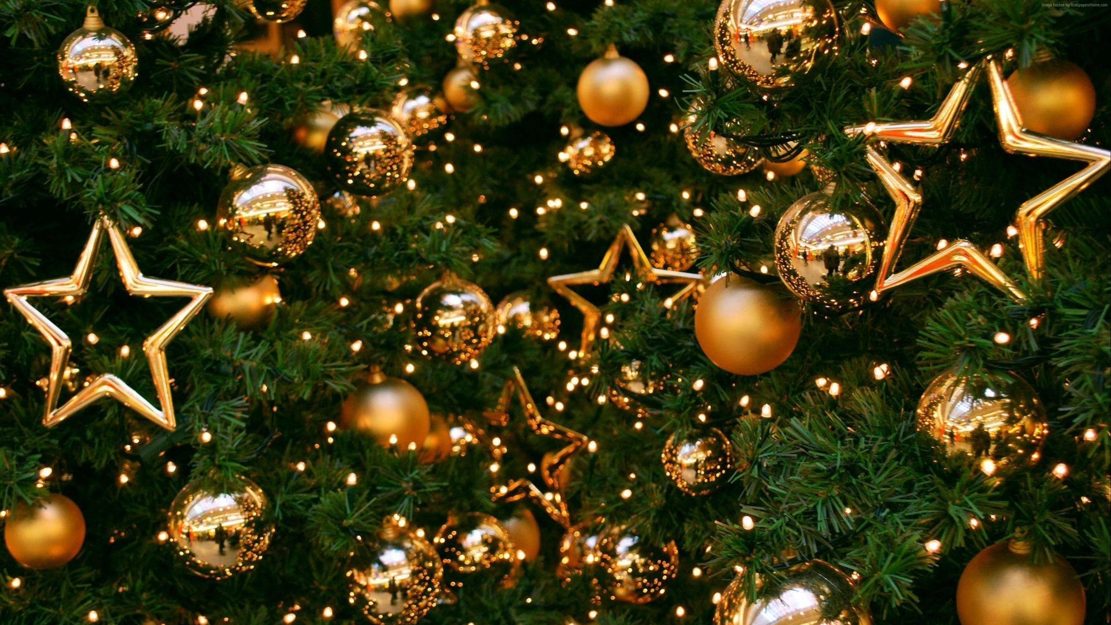 Wallpaper Christmas, New Year, toys, fir-tree, balls, decorations, 4k, Holidays