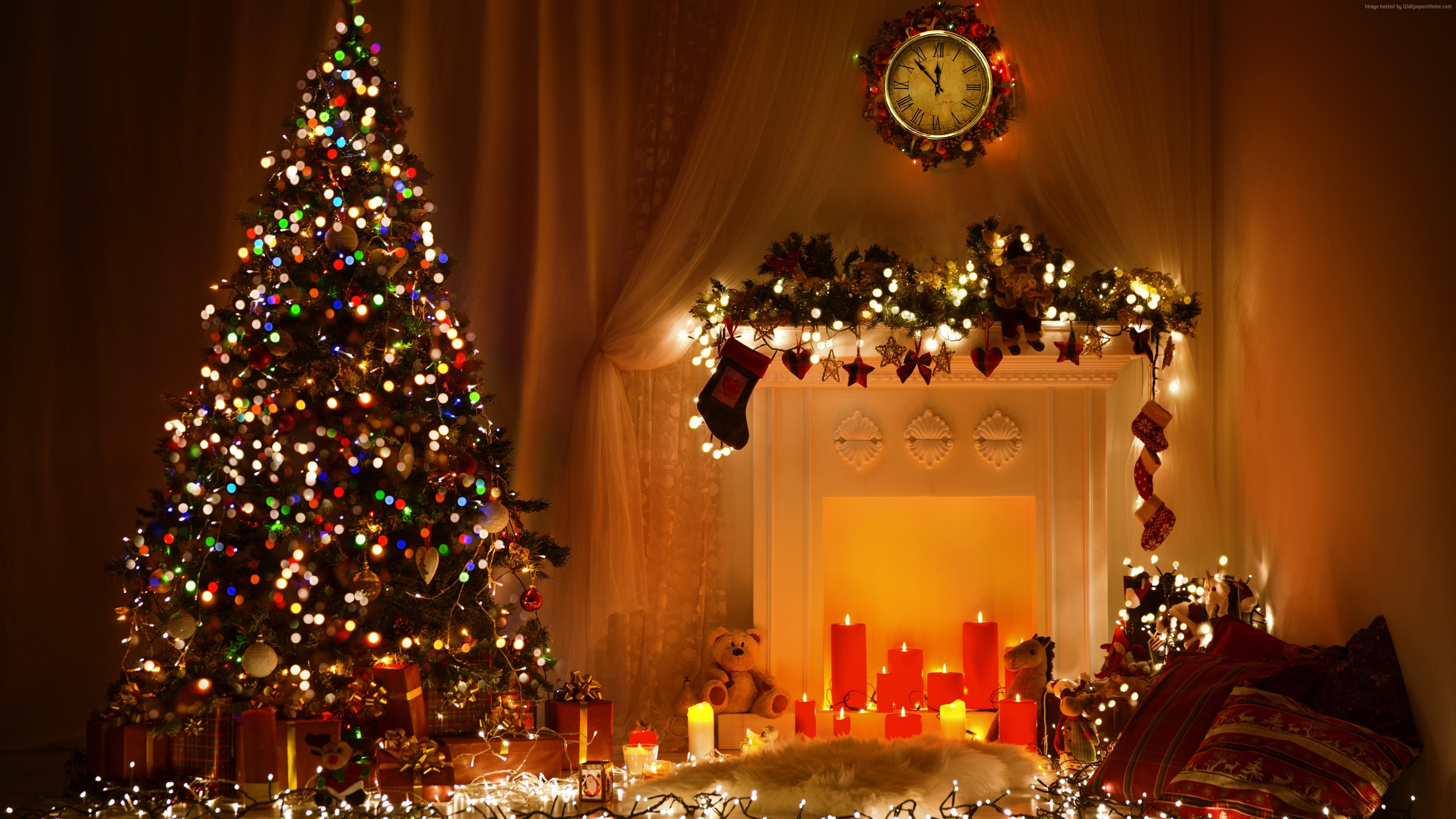 Wallpaper Christmas, New Year, toys, fir-tree, fireplace