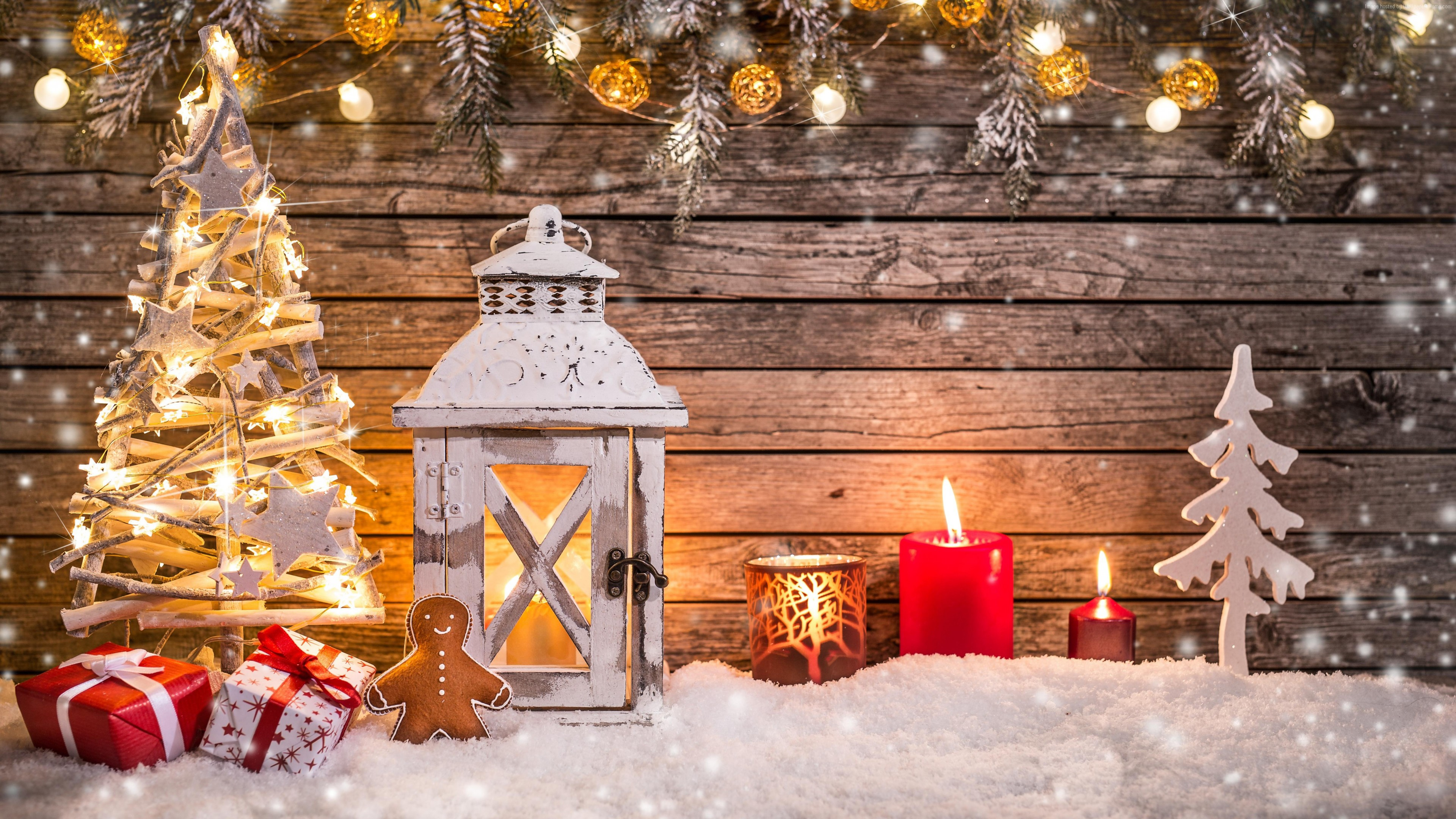 Wallpaper Christmas, New Year, toys, fir-tree, lamp, decorations, snow, 5k, Holidays