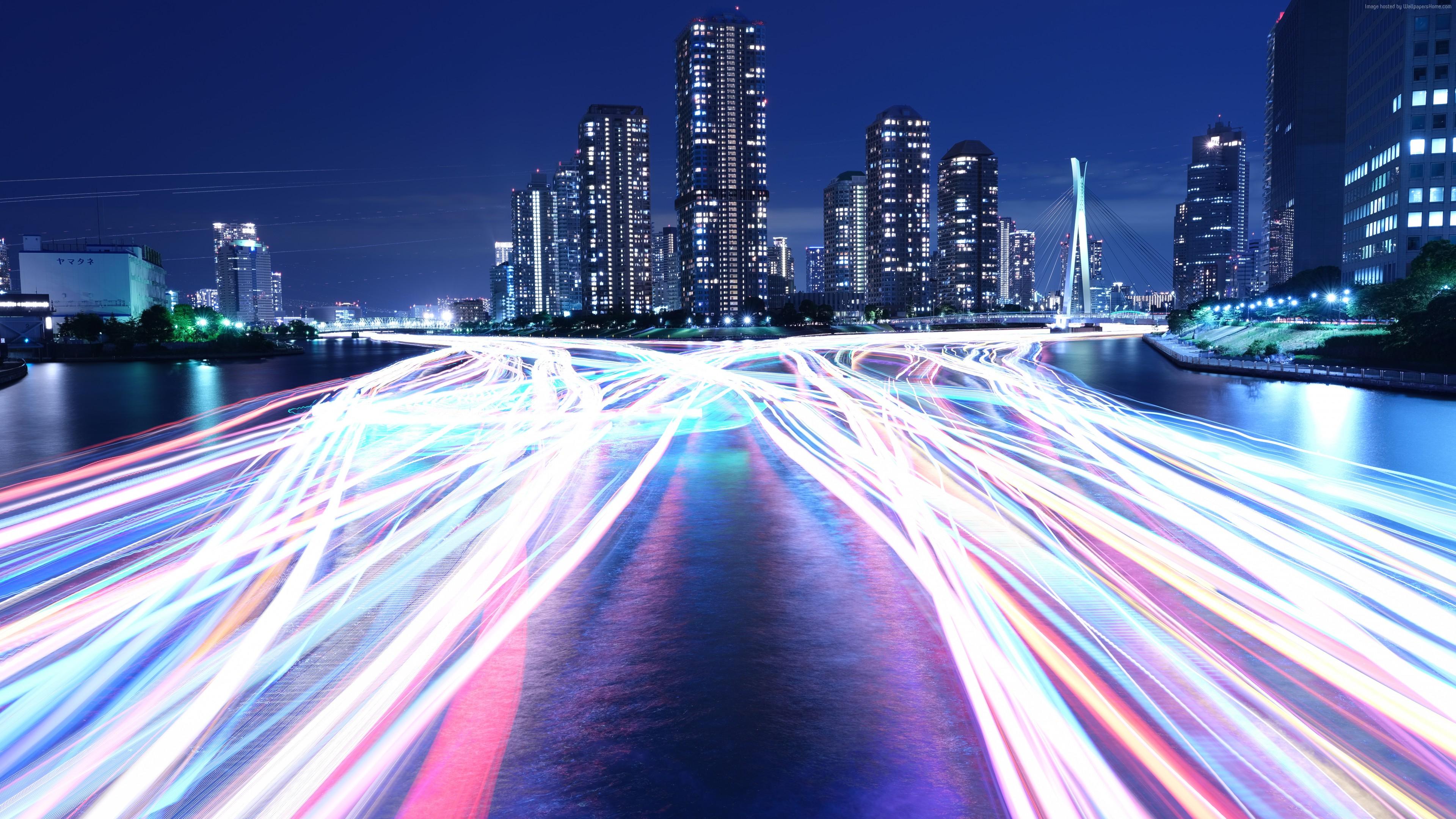 Wallpaper City Light Night River 4K 8K Architecture 4k 8k Download