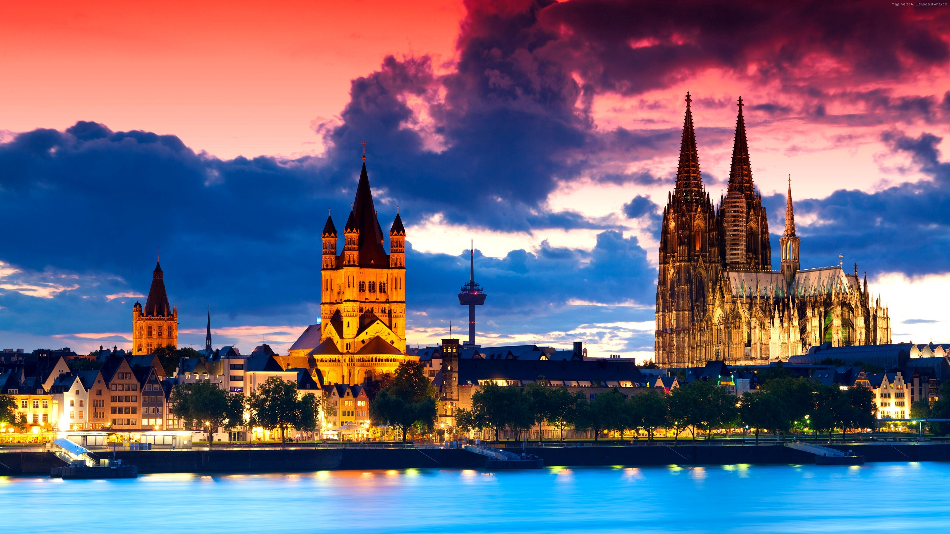 Wallpaper Cologne Cathedral, Germany, Cologne, Europe, night, 4k, Architecture