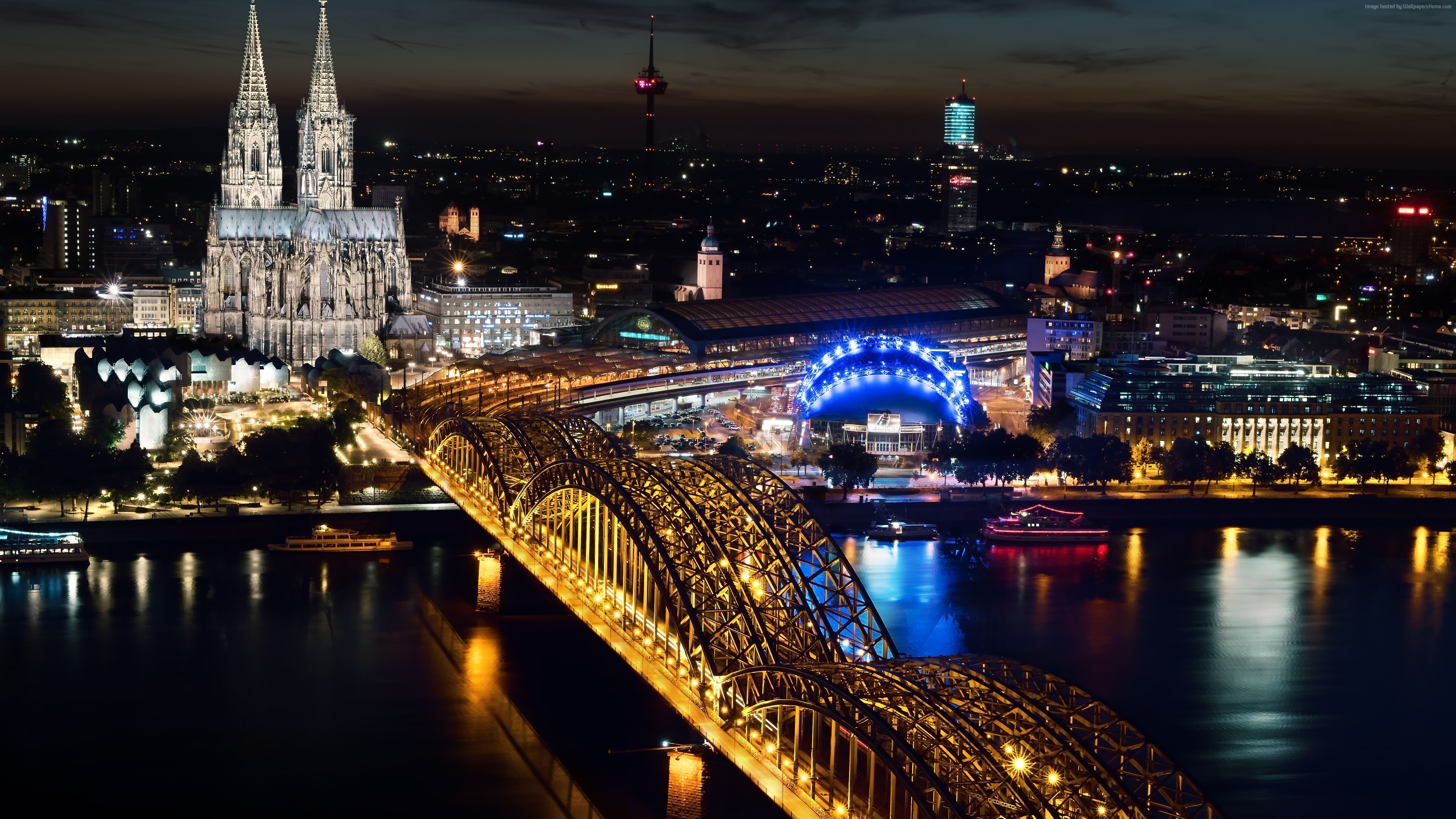 Wallpaper Cologne Cathedral, Hohenzollern bridge, Germany, Cologne, Europe, night, 5k, Travel
