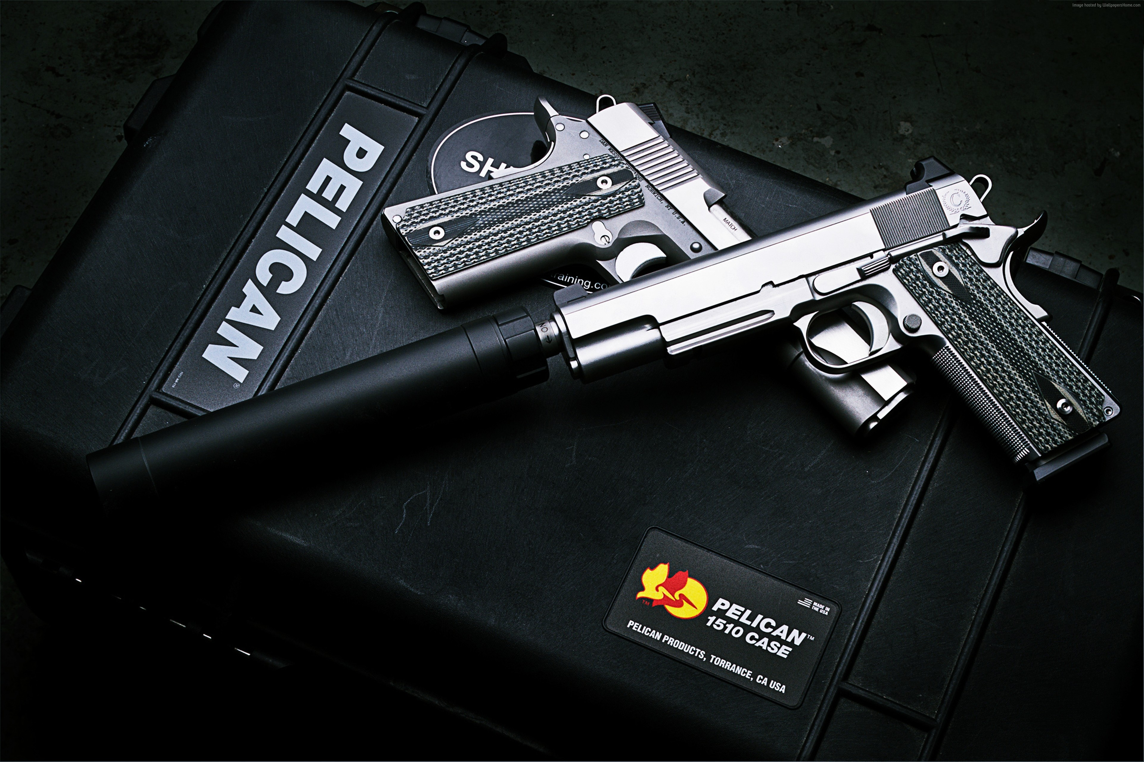 Wallpaper Dan Wesson M1911, ACP pistol, silencer, Military