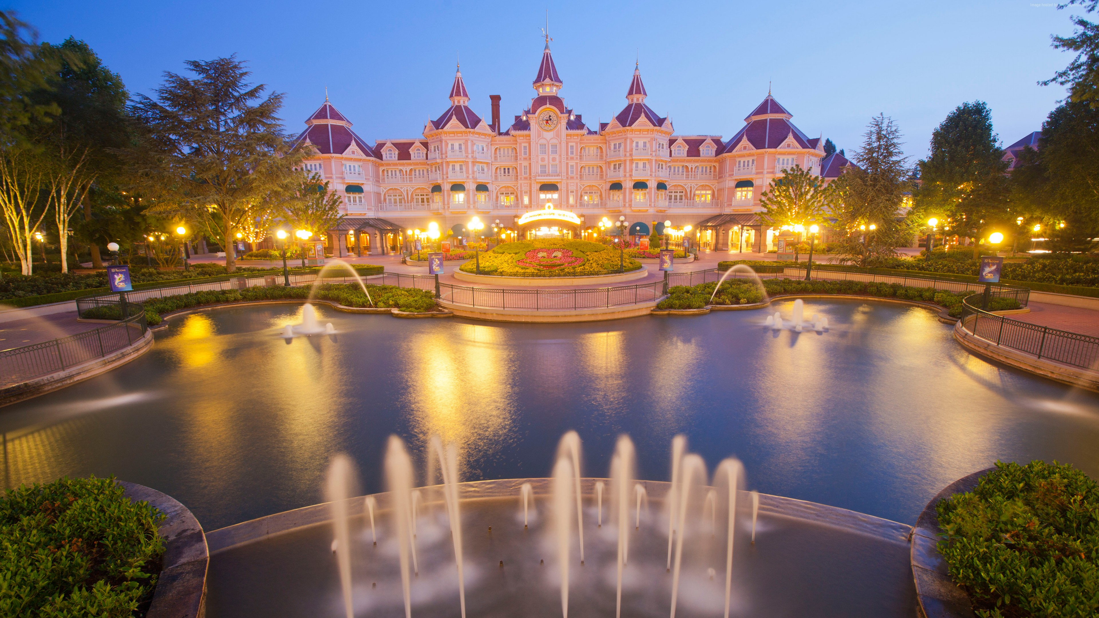 Wallpaper Disneyland Hotel, Paris, France, Europe, fountain, 4k, Architecture