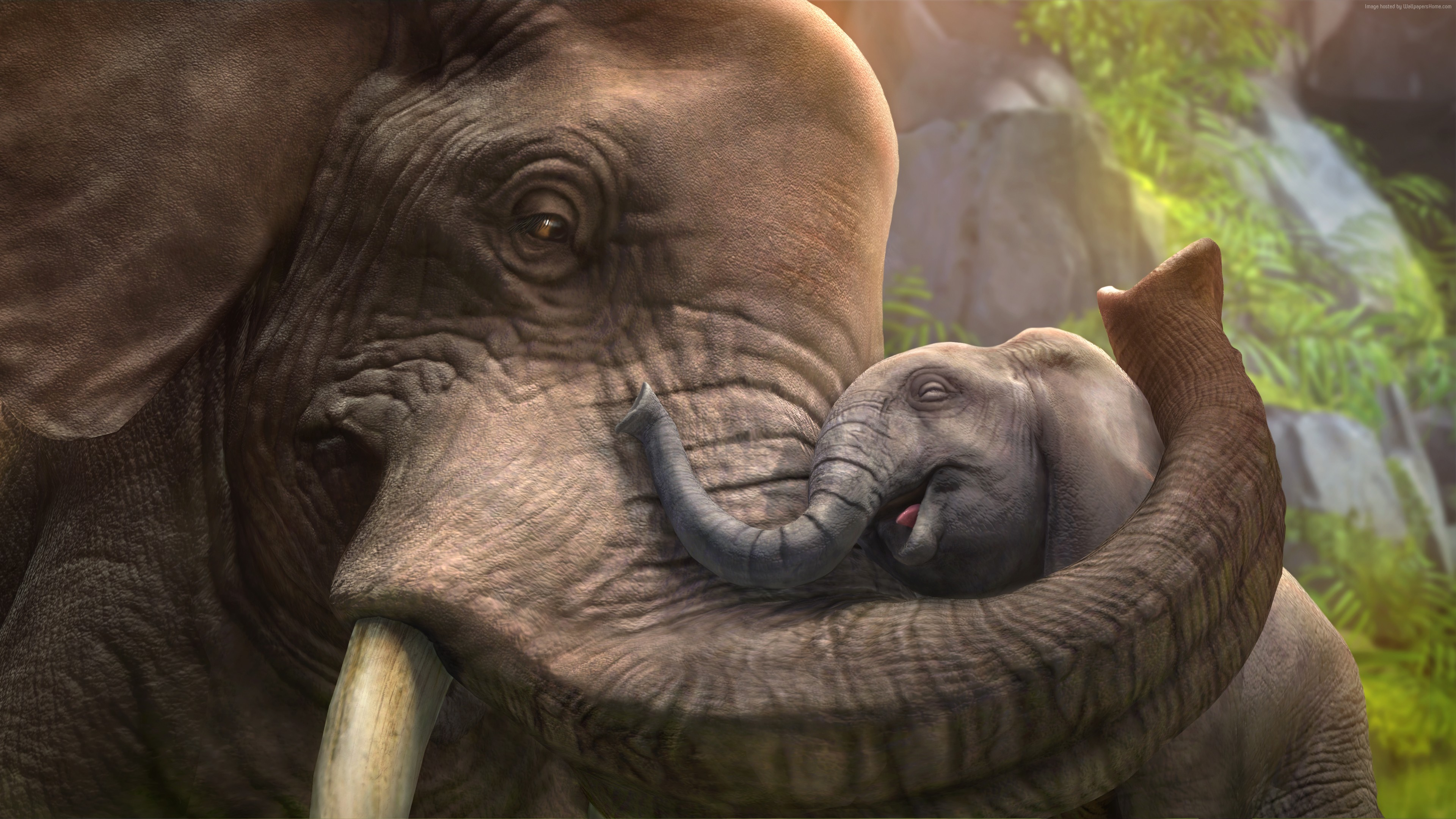 Wallpaper Elephant, cub, zoo tycoon, animals, grey, art, tourism, Animals