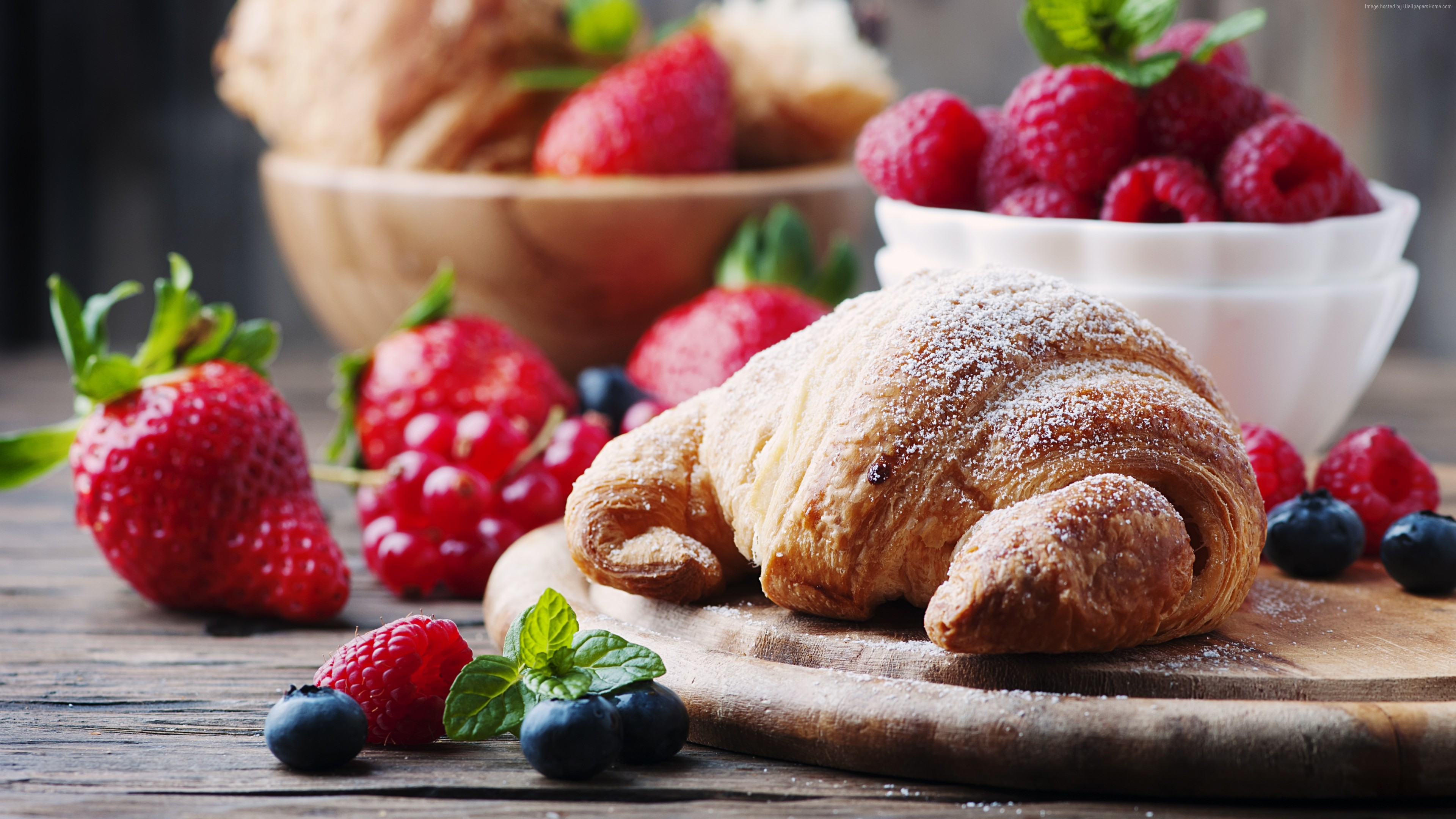 Wallpaper French croissants, fruit, berries, strawberry, raspberry, delicious, 4k, Food