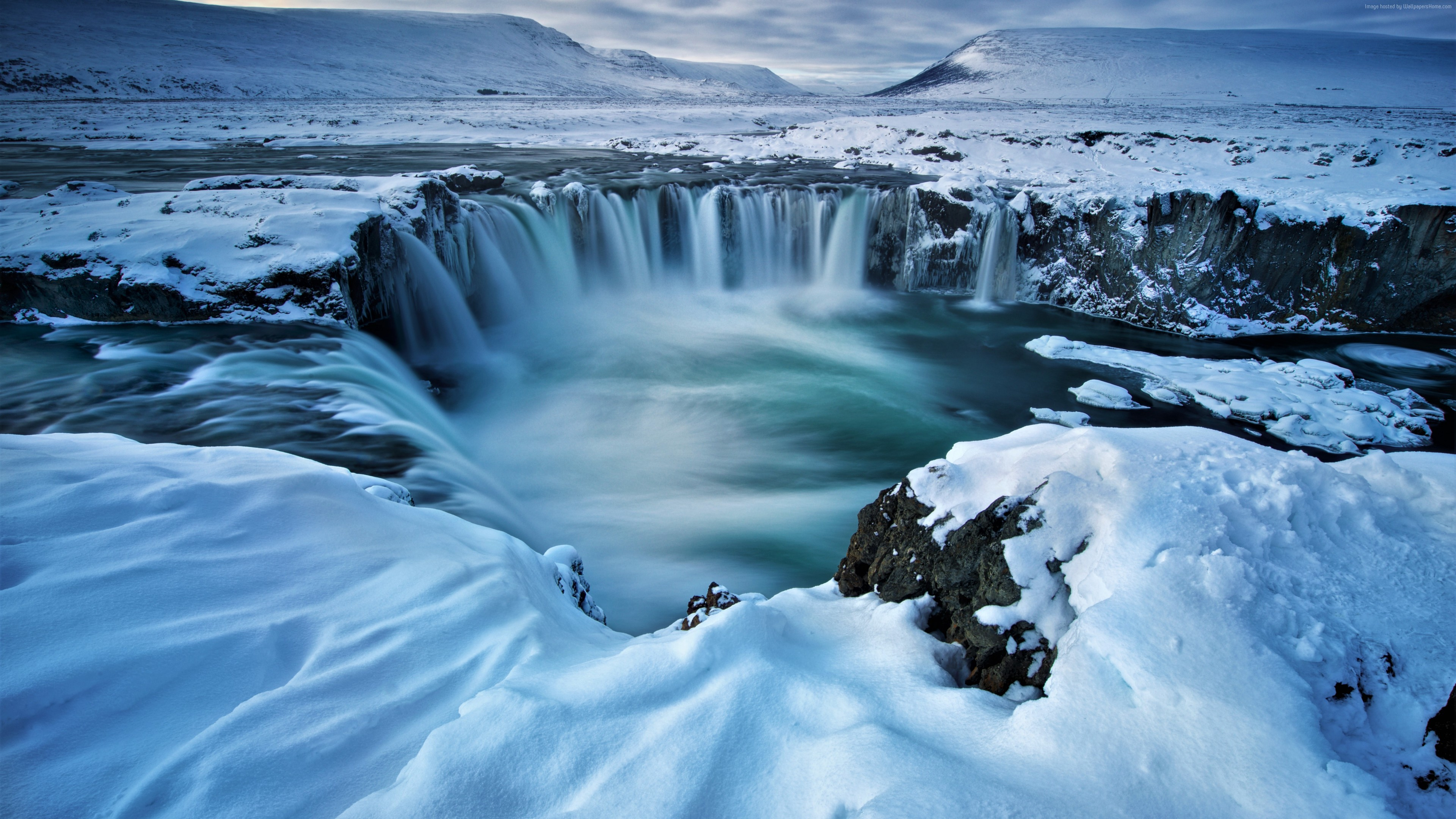 Wallpaper Godafoss, waterfall, winter, Iceland, 5k, Nature