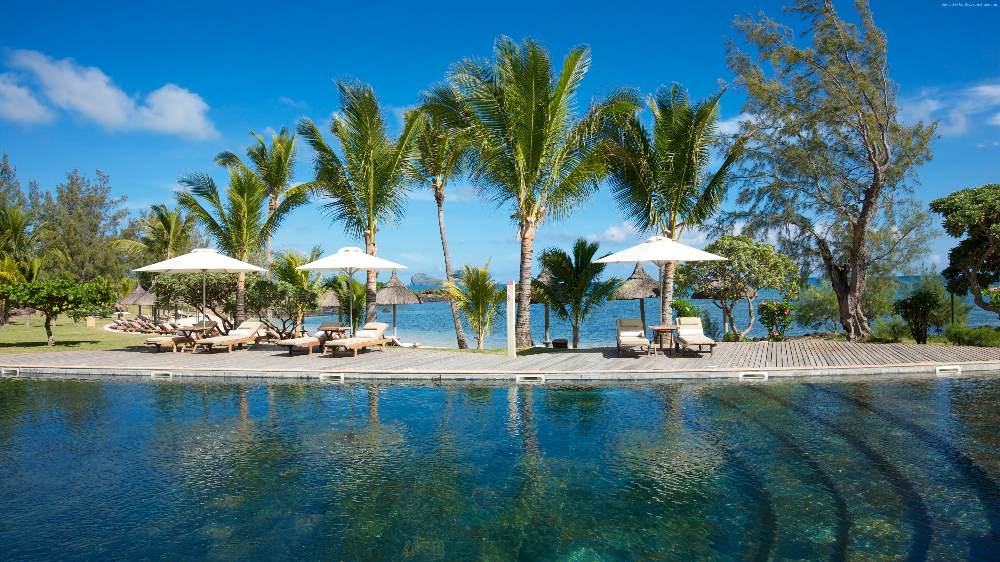Wallpaper Grand Gaube, Mauritius, Hotel, pool, water, sunbed, palm, sky, blue, sea, ocean, travel, vacation, booking, World&