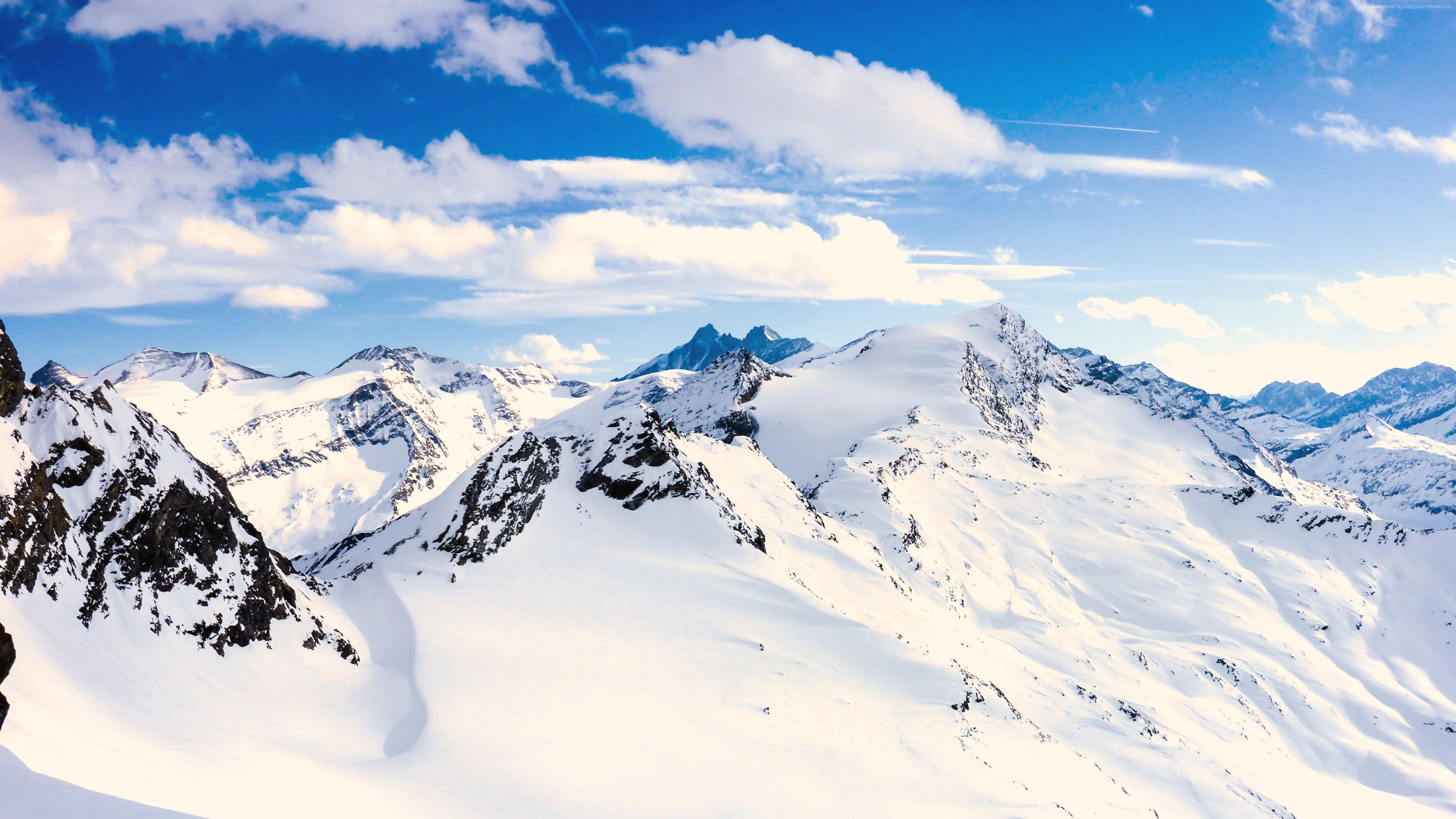 Wallpaper Grossglockner, mountains, Austria, snow, winter, sky, clouds, 5k, Nature