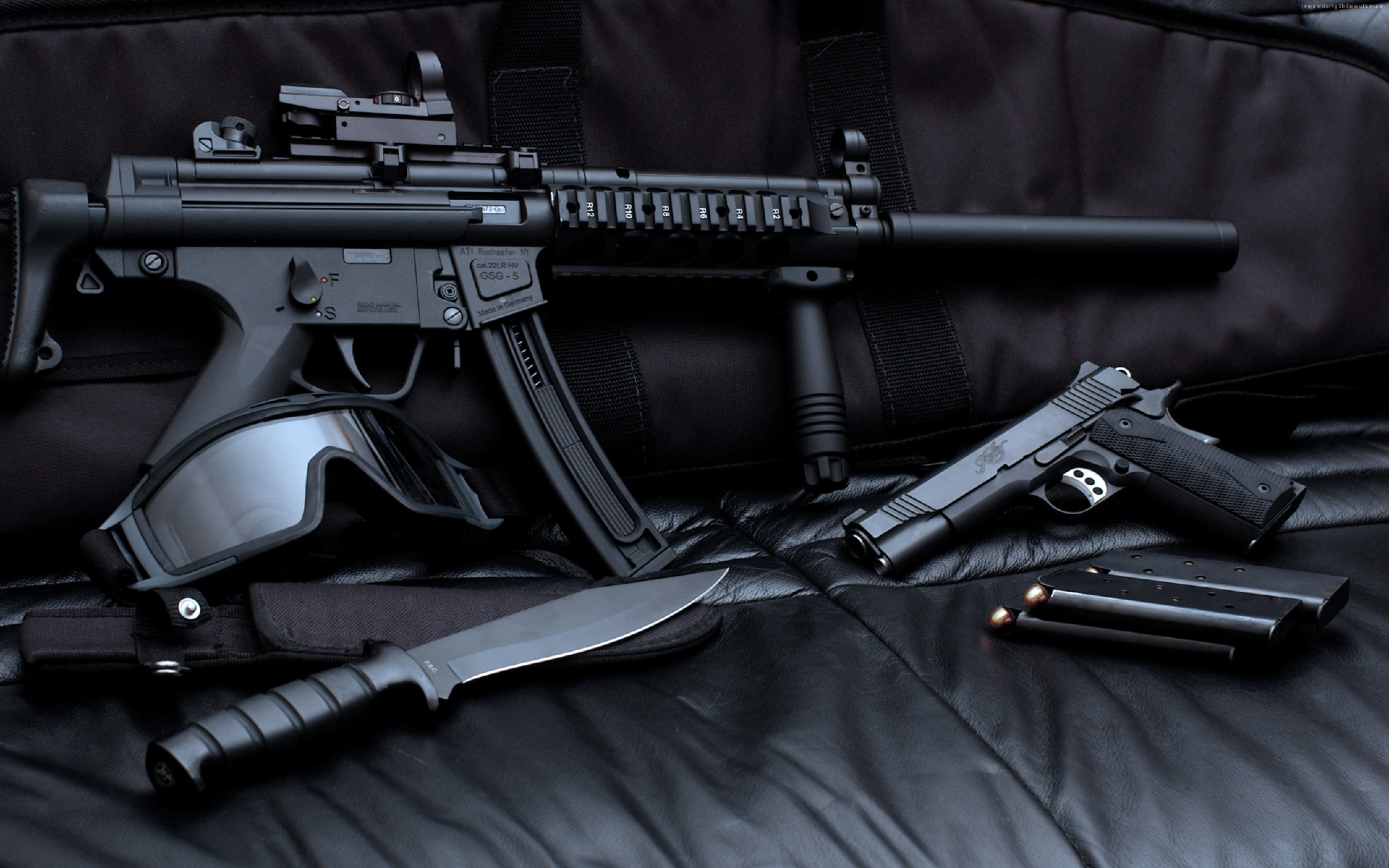 Wallpaper Gsg 5, M1911, knife, TACTICAL GOGGLES, Military