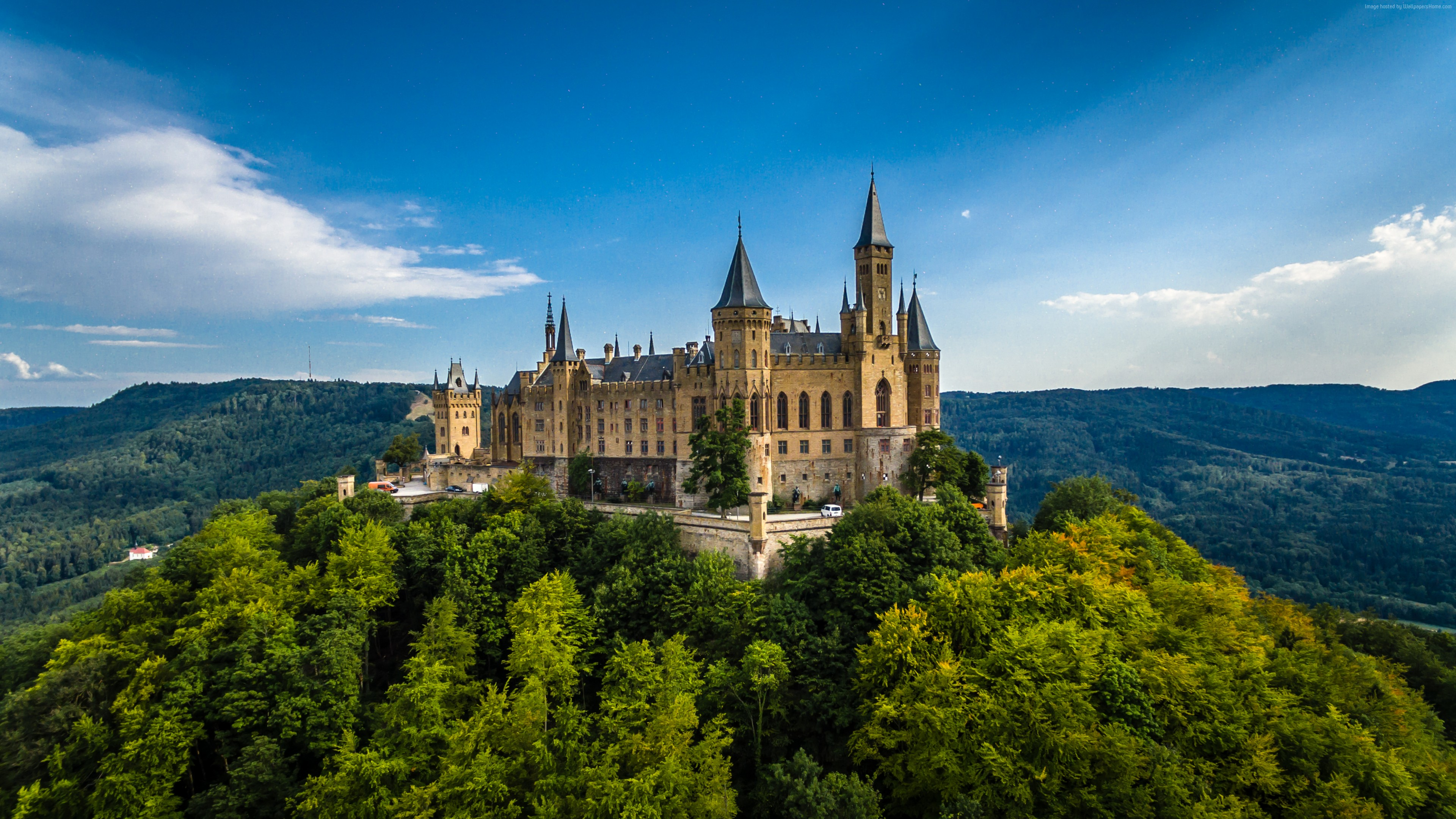 Wallpaper Hohenzollern Castle, Germany, Europe, forest, sky, 4k, Travel