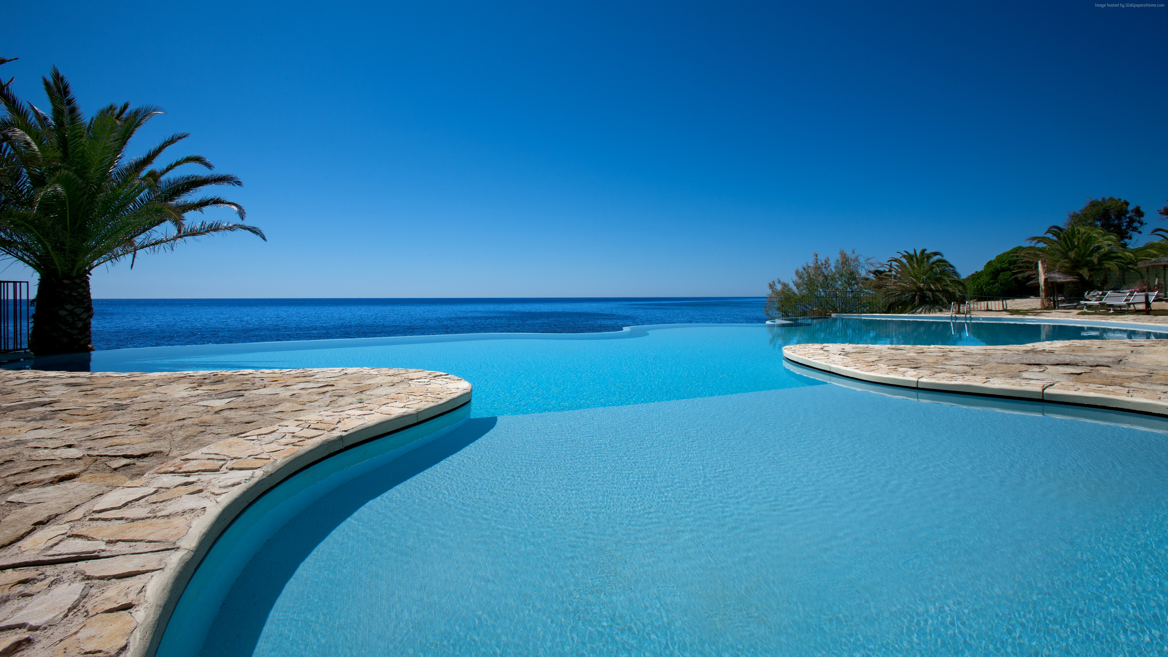 Wallpaper Hotel Costa dei Fiori, 5k, 4k wallpaper, Sardinia, Italy, infinity pool, pool, travel, tourism, Travel